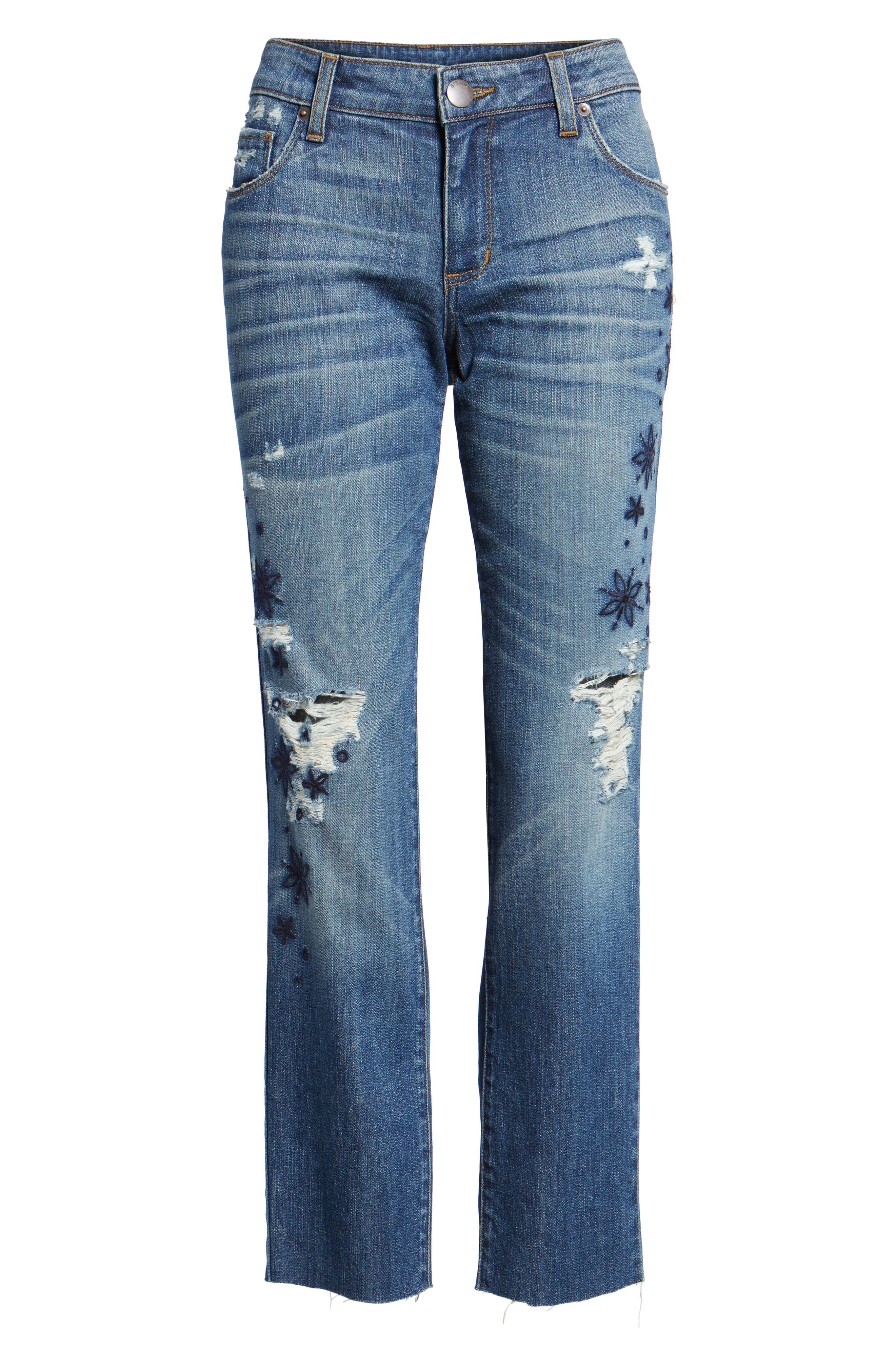 Taylor Ripped Embroidered Straight Leg Jeans,                             Alternate thumbnail 6, color,                             400