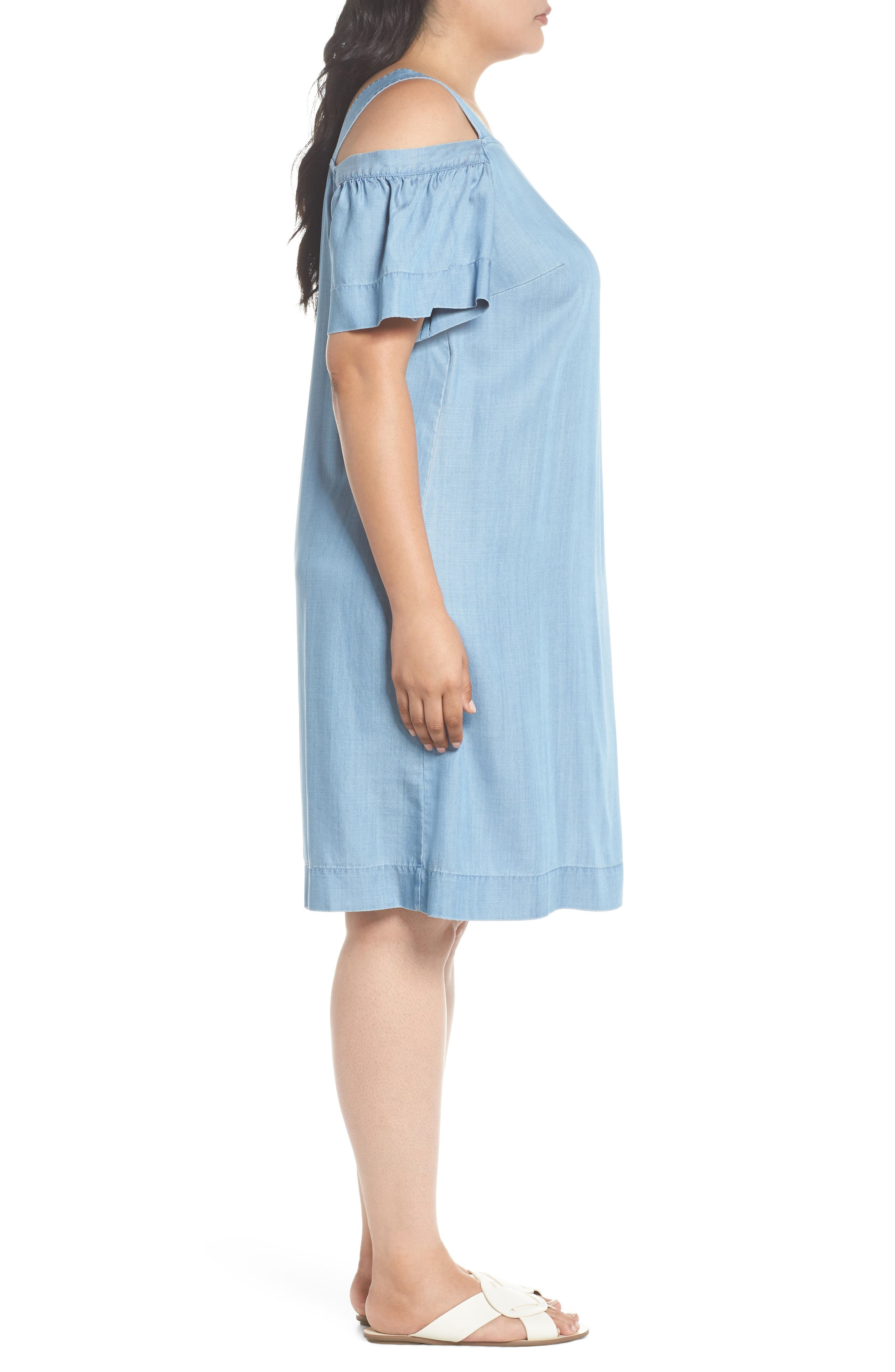 Ruffle Cold Shoulder Chambray Dress,                             Alternate thumbnail 3, color,                             VINTAGE