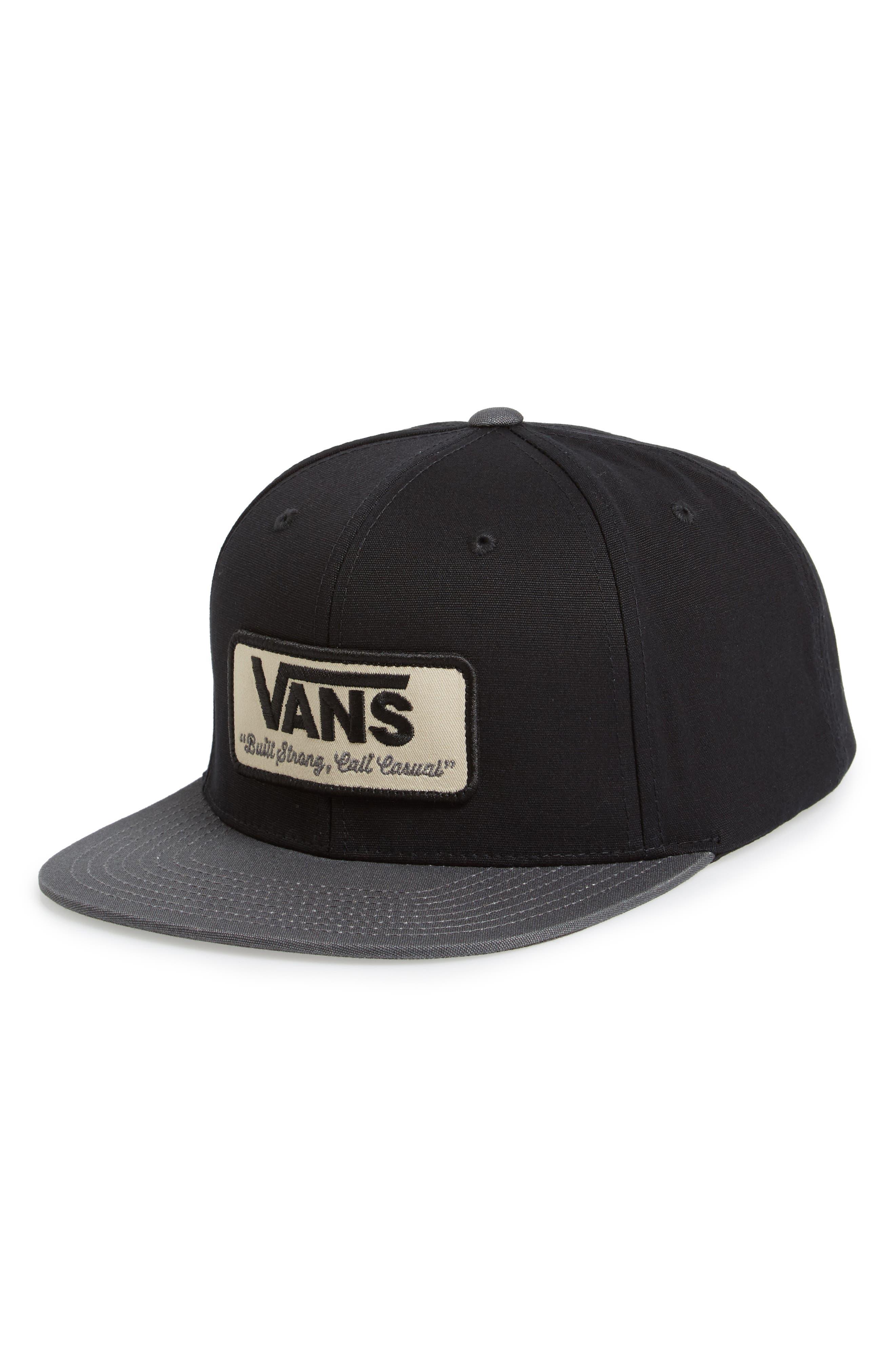 VANS 'Rowley' Snapback Hat, Main, color, 001