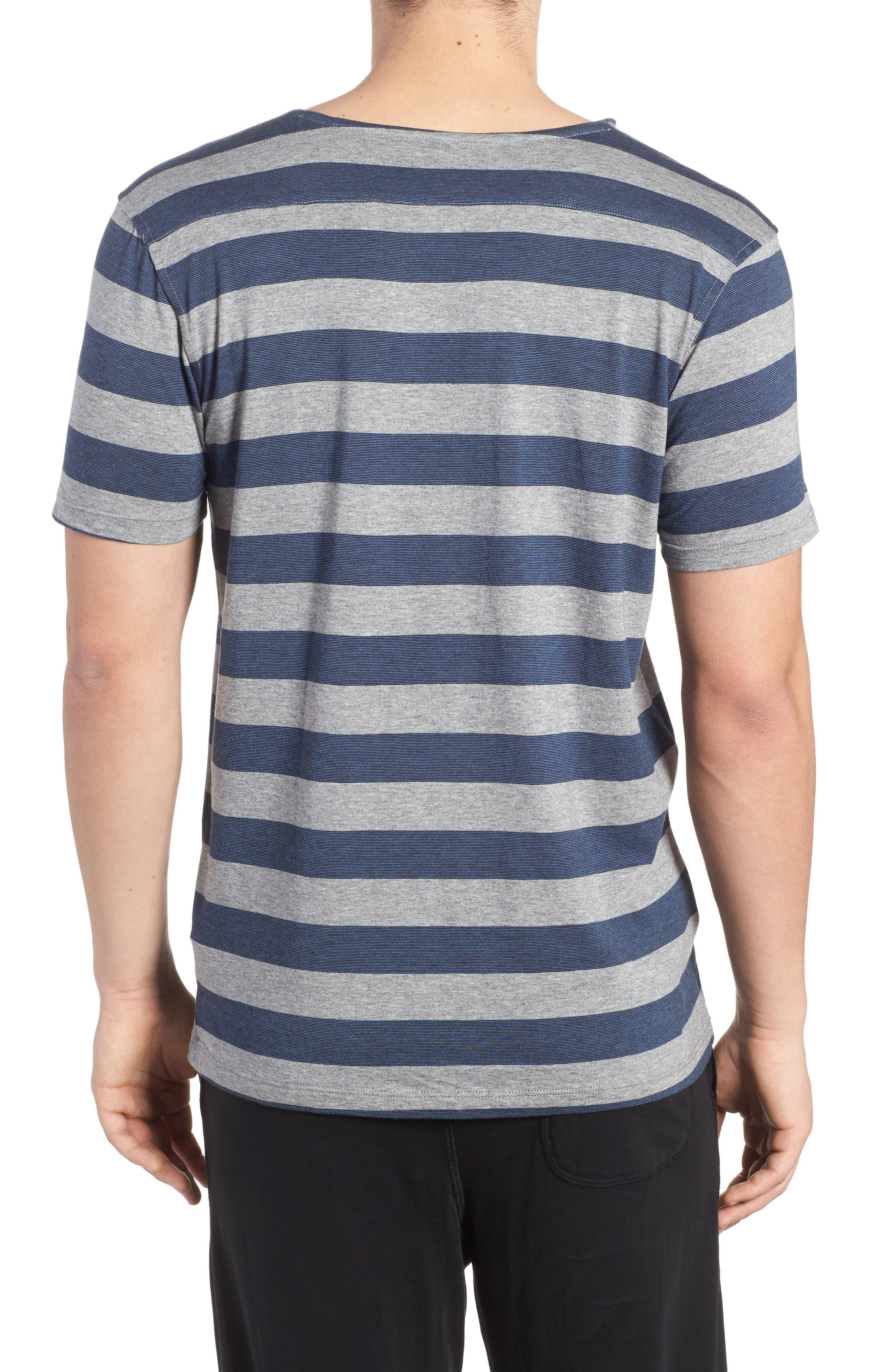 Stripe Pima Cotton & Modal V-Neck T-Shirt,                             Alternate thumbnail 2, color,                             020