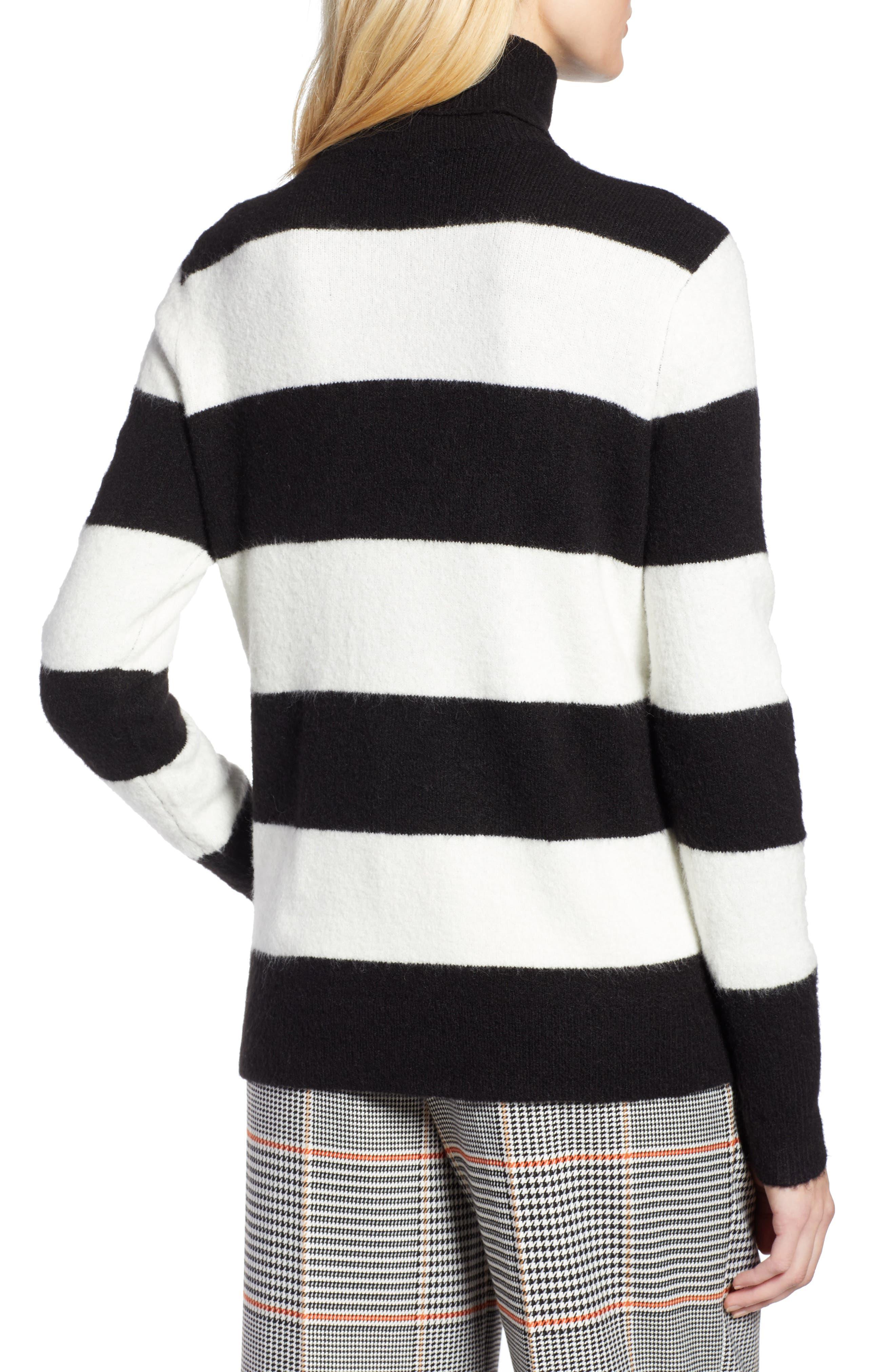 x Atlantic-Pacific Stripe Turtleneck Sweater,                             Alternate thumbnail 3, color,                             BLACK- IVORY STRIPE