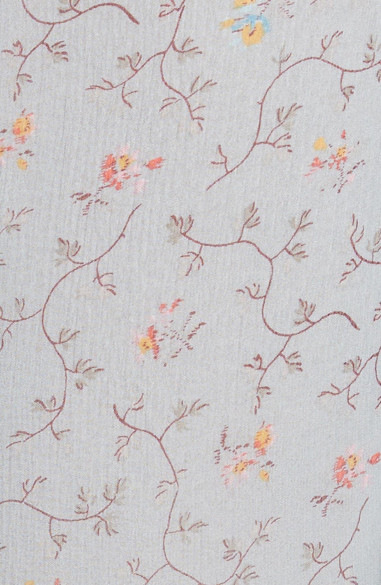 Floral Vine Ruffle Silk Dress,                             Alternate thumbnail 5, color,                             400