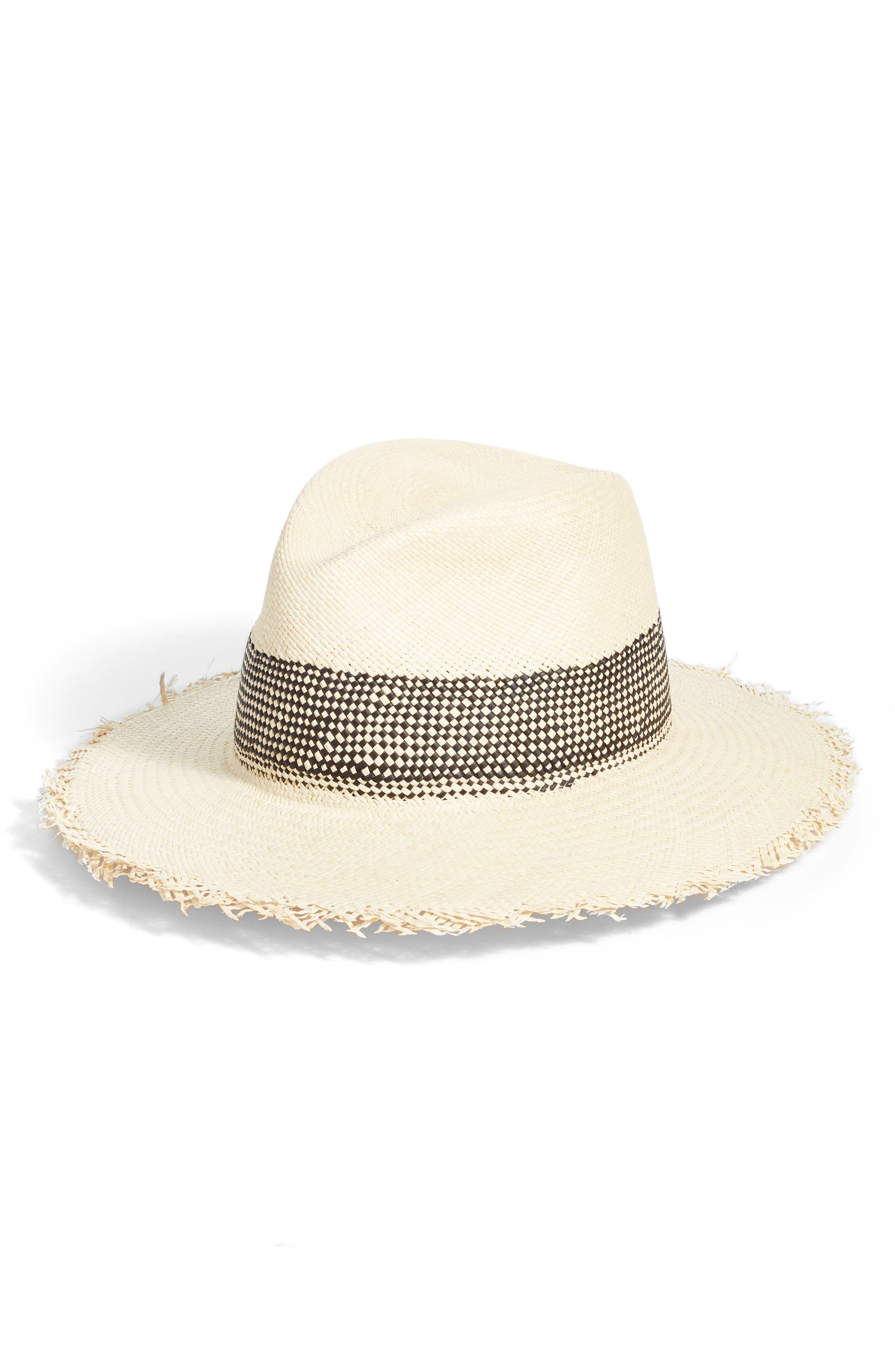 Frayed Edge Panama Straw Hat,                         Main,                         color, BLACK MULTI