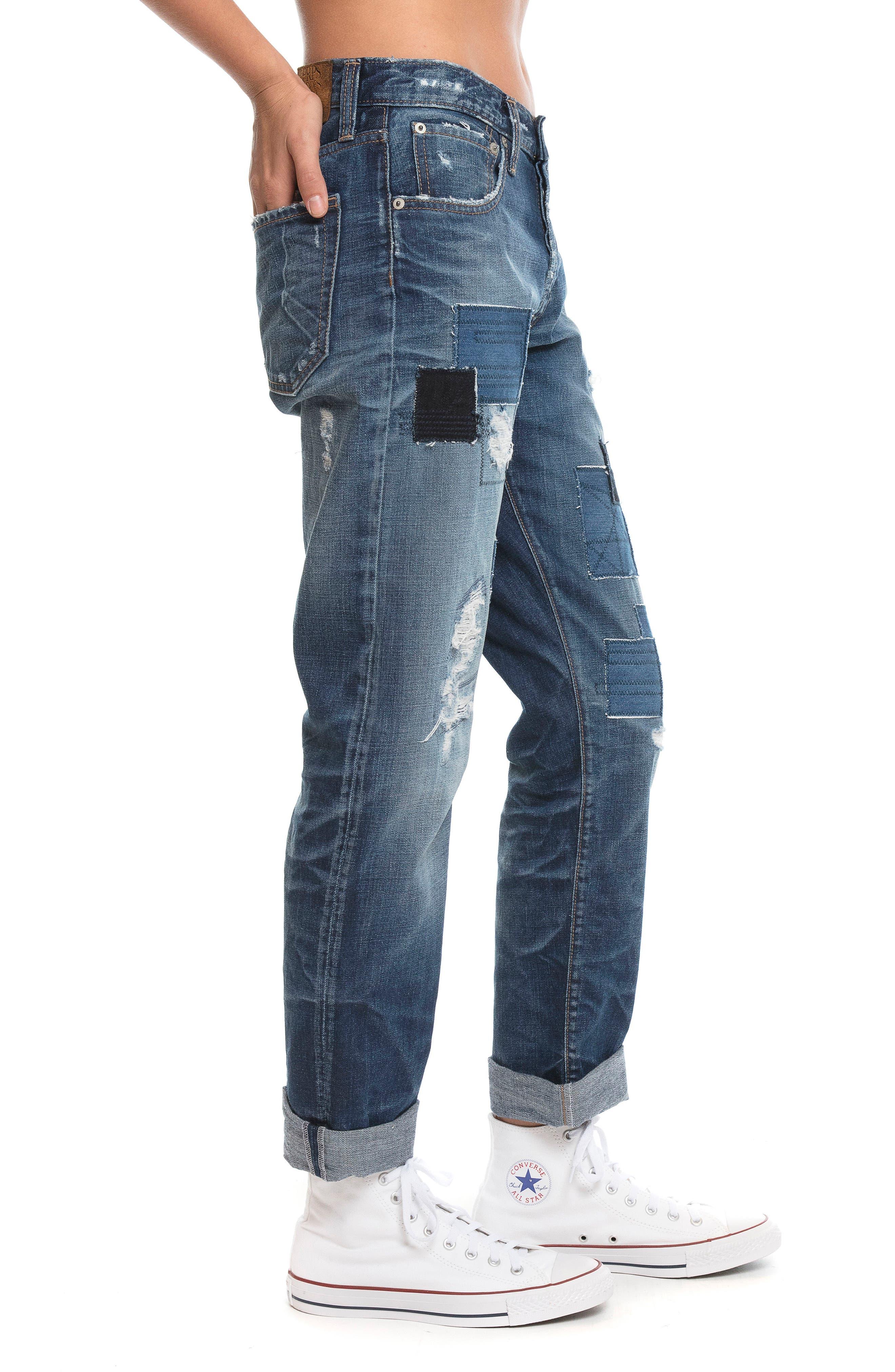 El Camino - Patch It Boyfriend Jeans,                             Alternate thumbnail 4, color,                             INDIGO