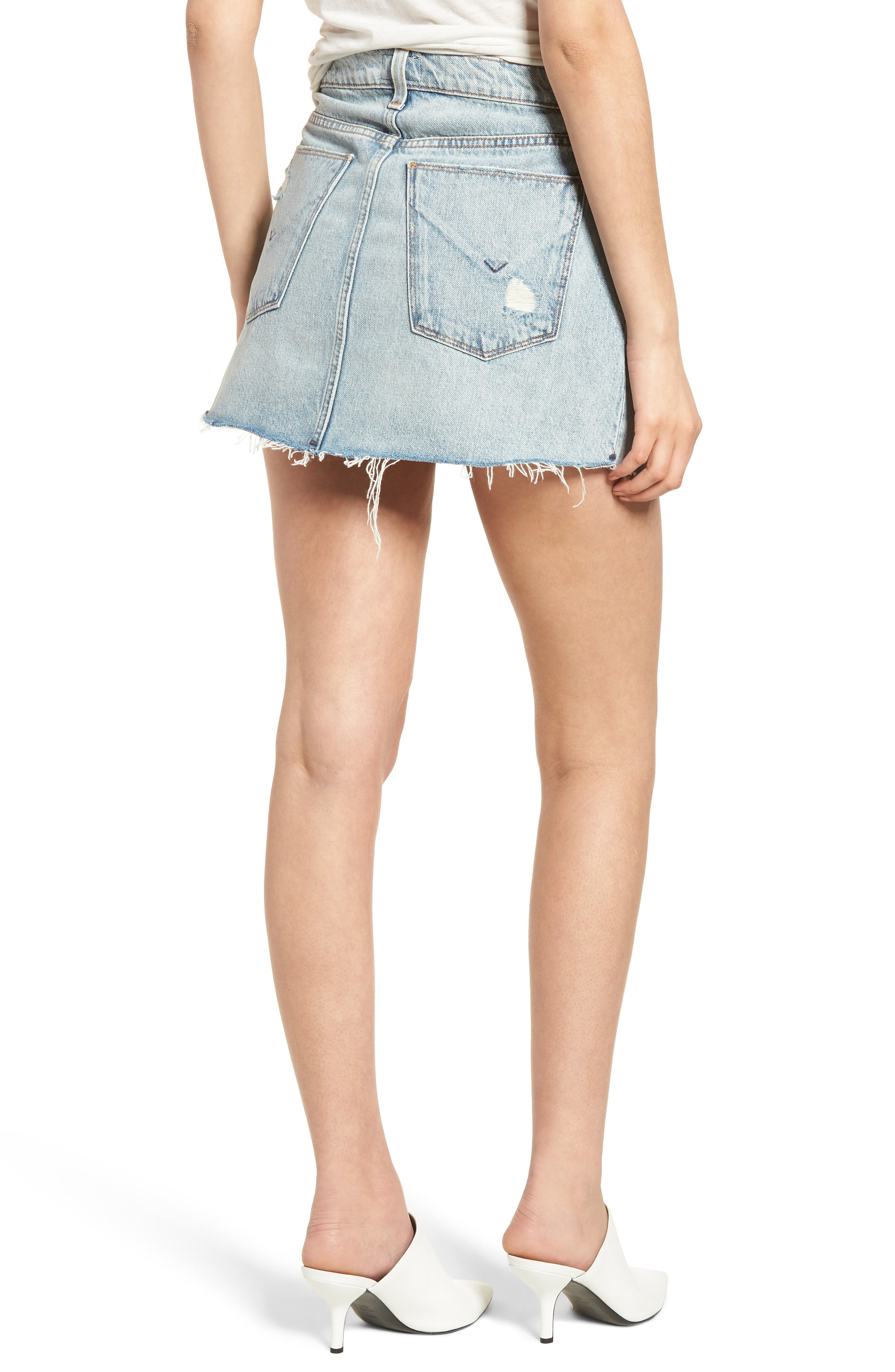 Vivid Cutoff Denim Miniskirt,                             Alternate thumbnail 2, color,                             453