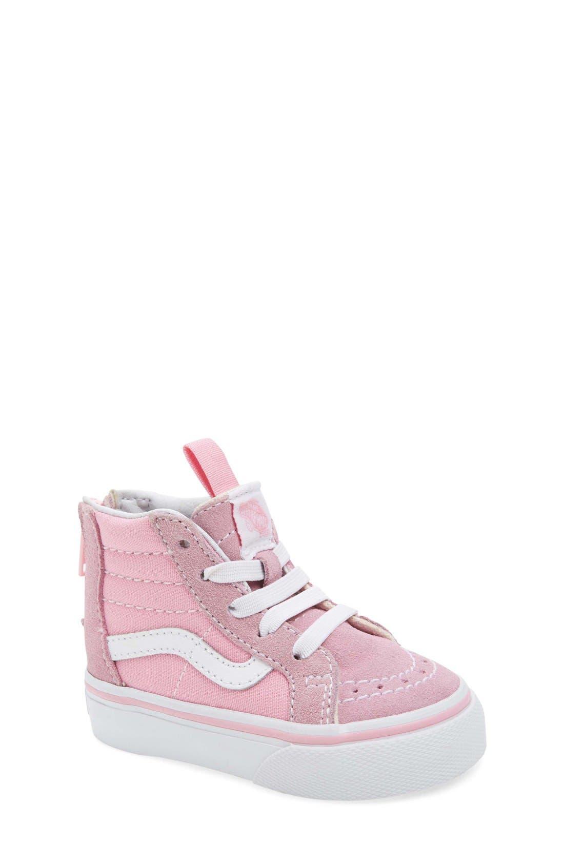 'Sk8-Hi Zip' Sneaker,                             Main thumbnail 1, color,                             PRISM PINK/ TRUE WHITE