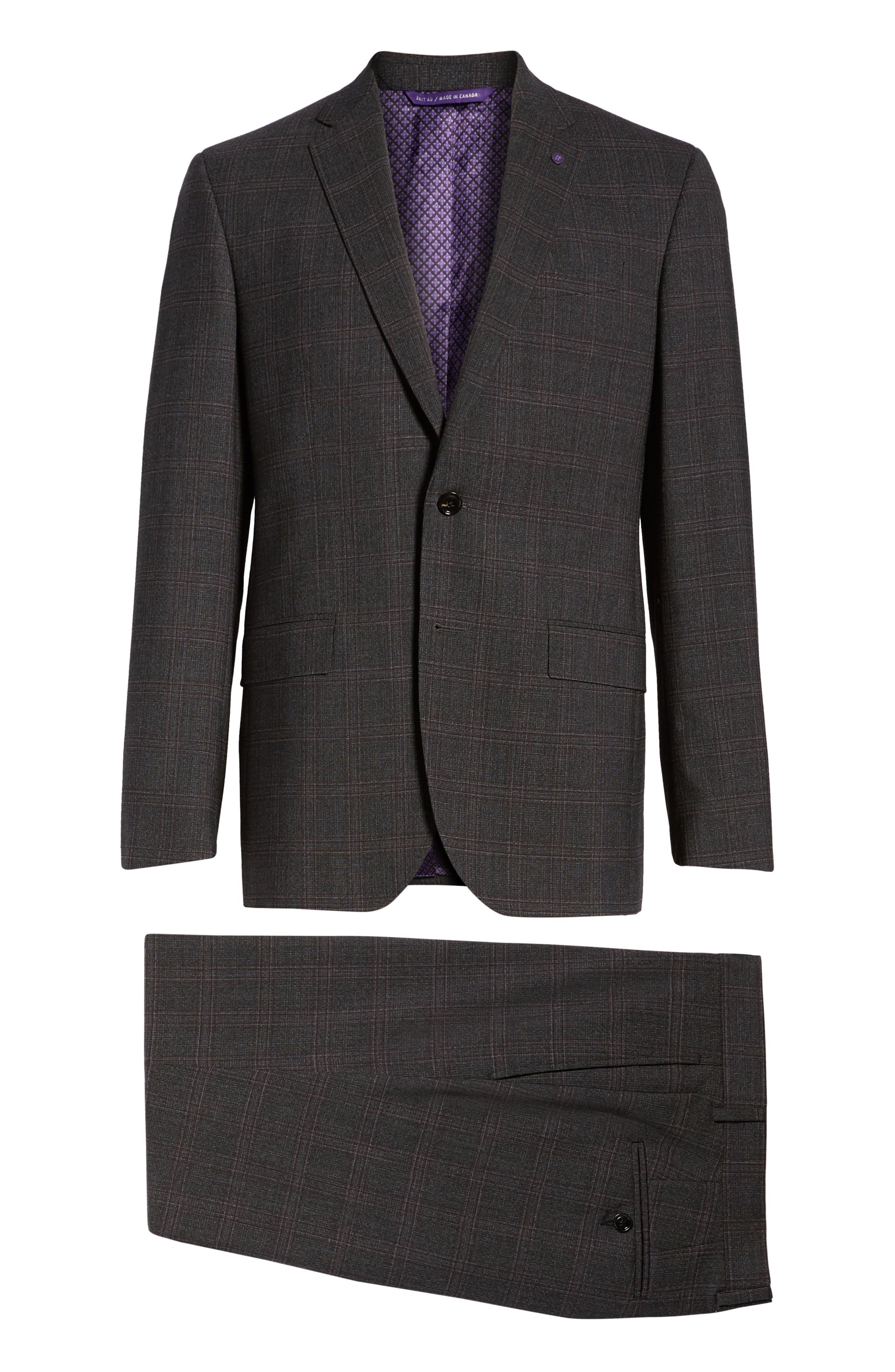 Jay Trim Fit Plaid Wool Suit,                             Alternate thumbnail 8, color,                             CHARCOAL