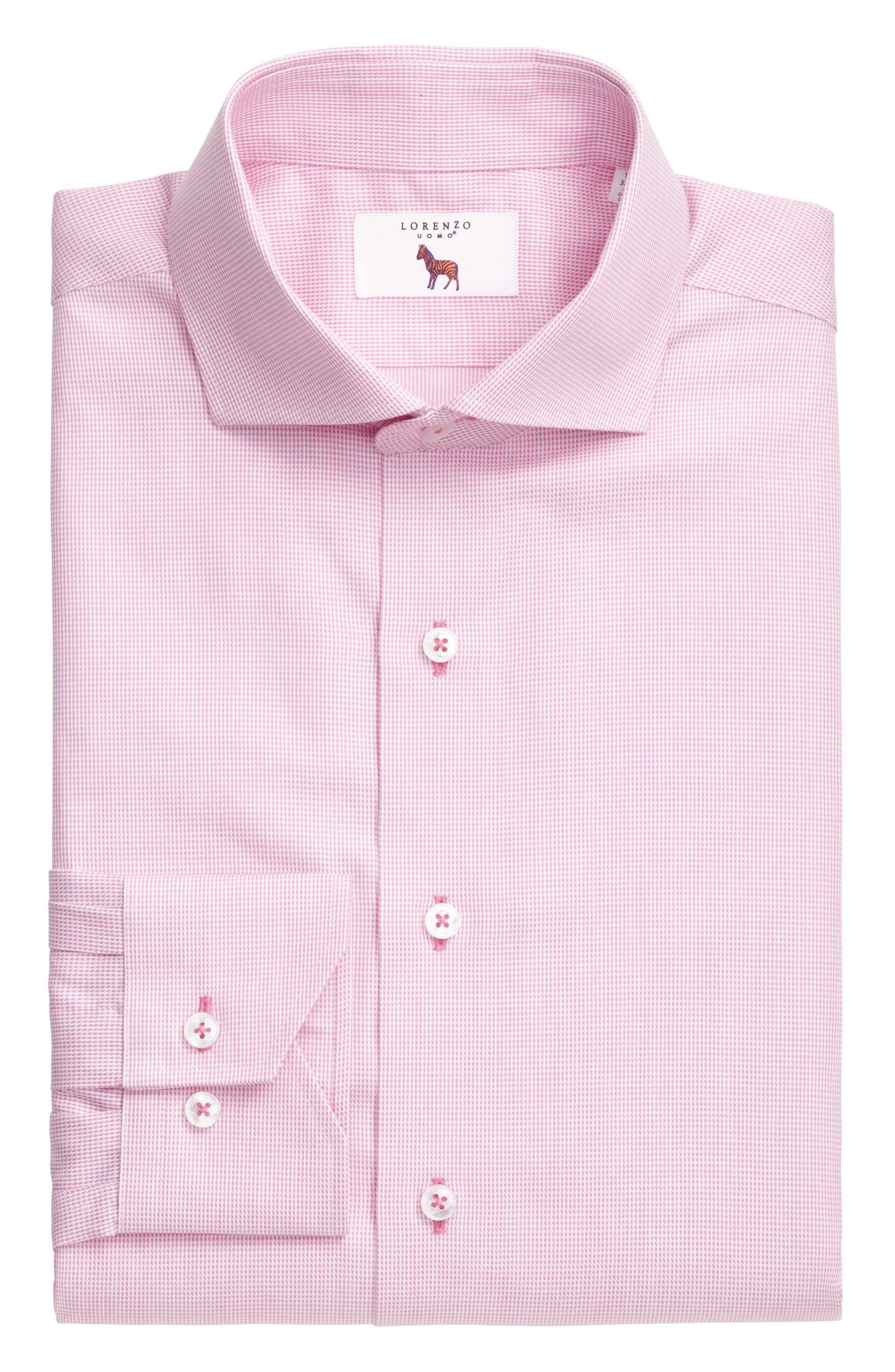 Trim Fit Solid Dress Shirt,                             Alternate thumbnail 3, color,                             680