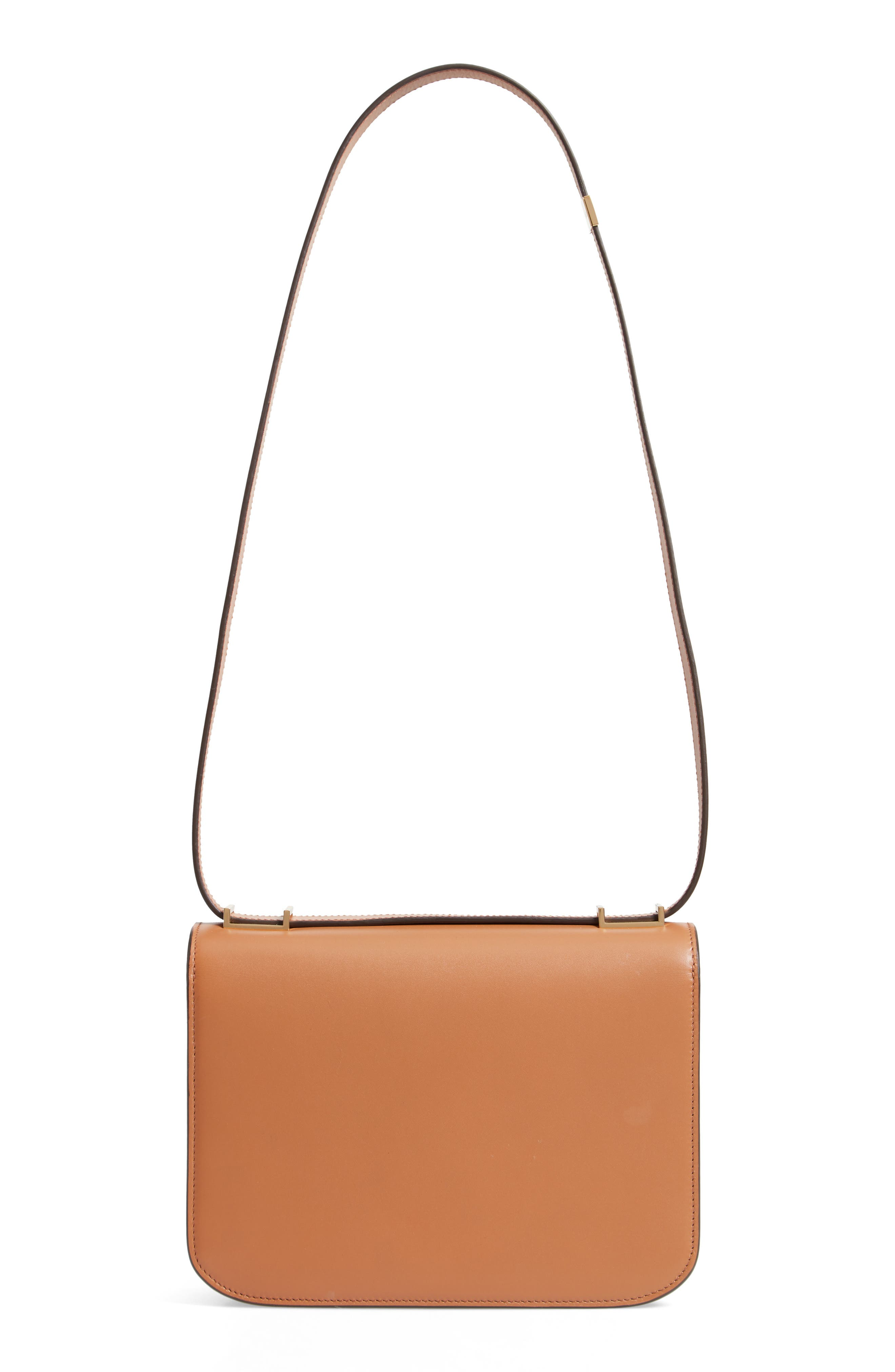 Eva Calfskin Leather Shoulder Bag,                             Alternate thumbnail 3, color,                             CAMEL