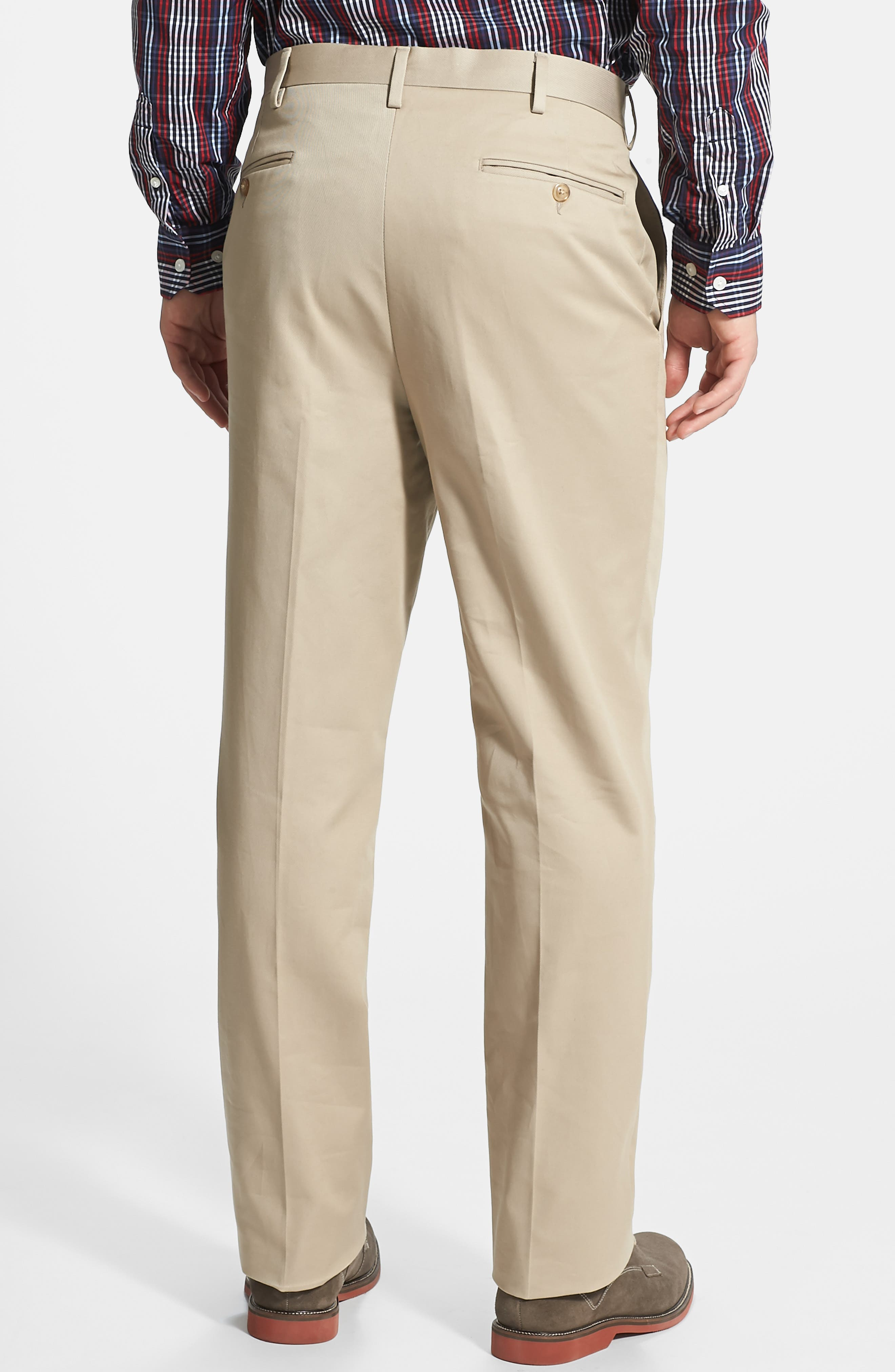 Flat Front Wrinkle Resistant Cotton Trousers,                             Alternate thumbnail 2, color,                             KHAKI