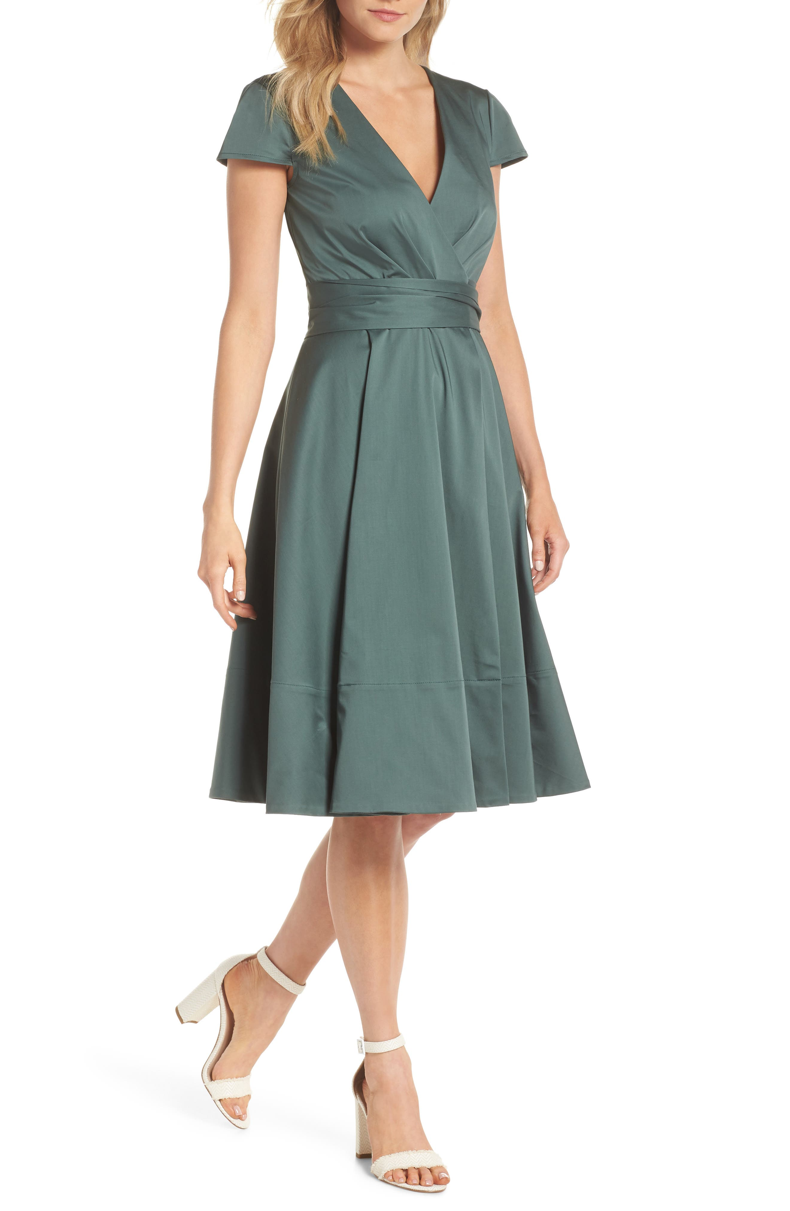Gal Meets Glam Collection Addison Cotton Tie Waist Fit & Flare Wrap Dress, Green