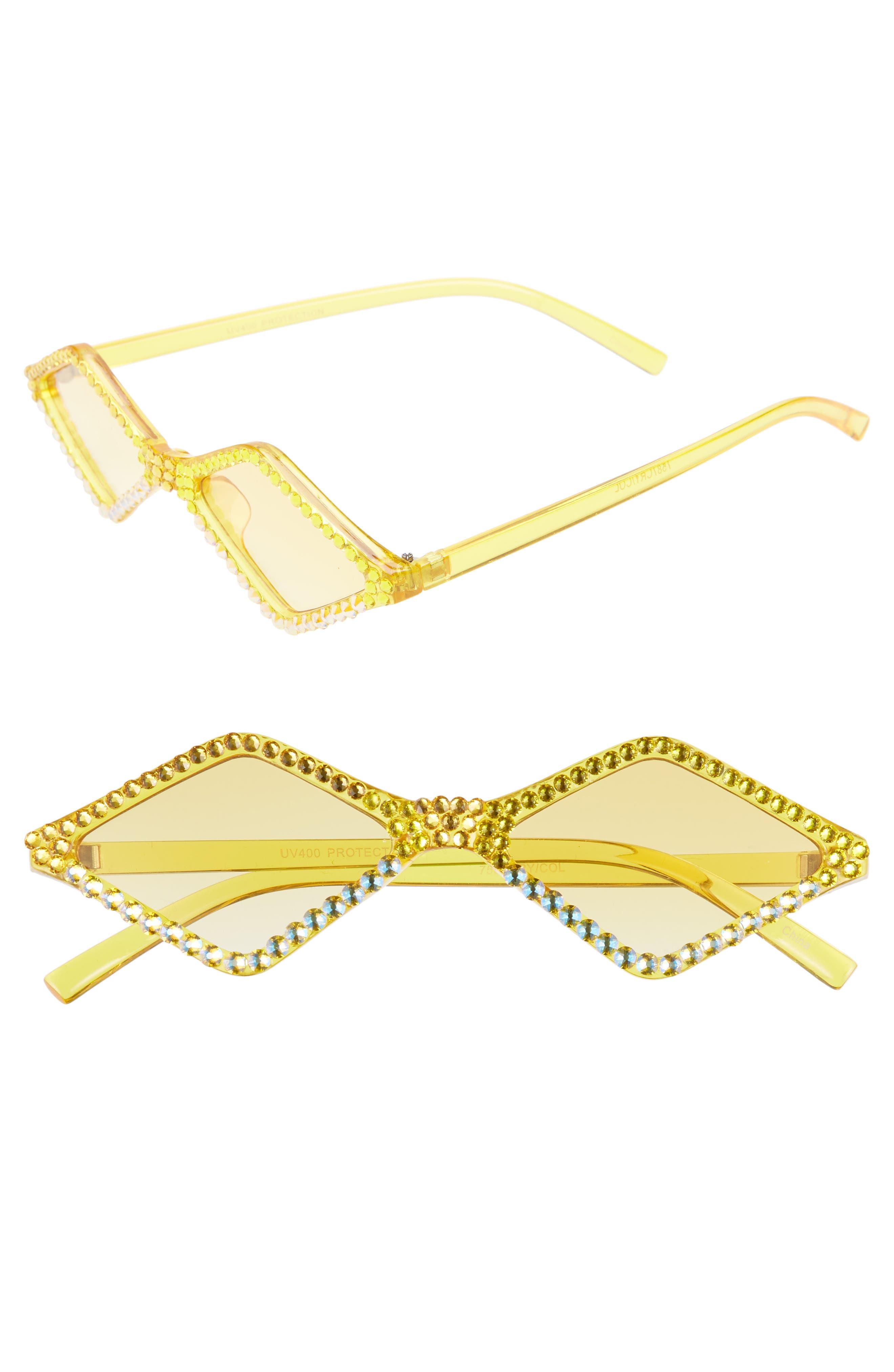 Rad + Refined Geometric Crystal Frame Sunglasses - Yellow/ Crystal