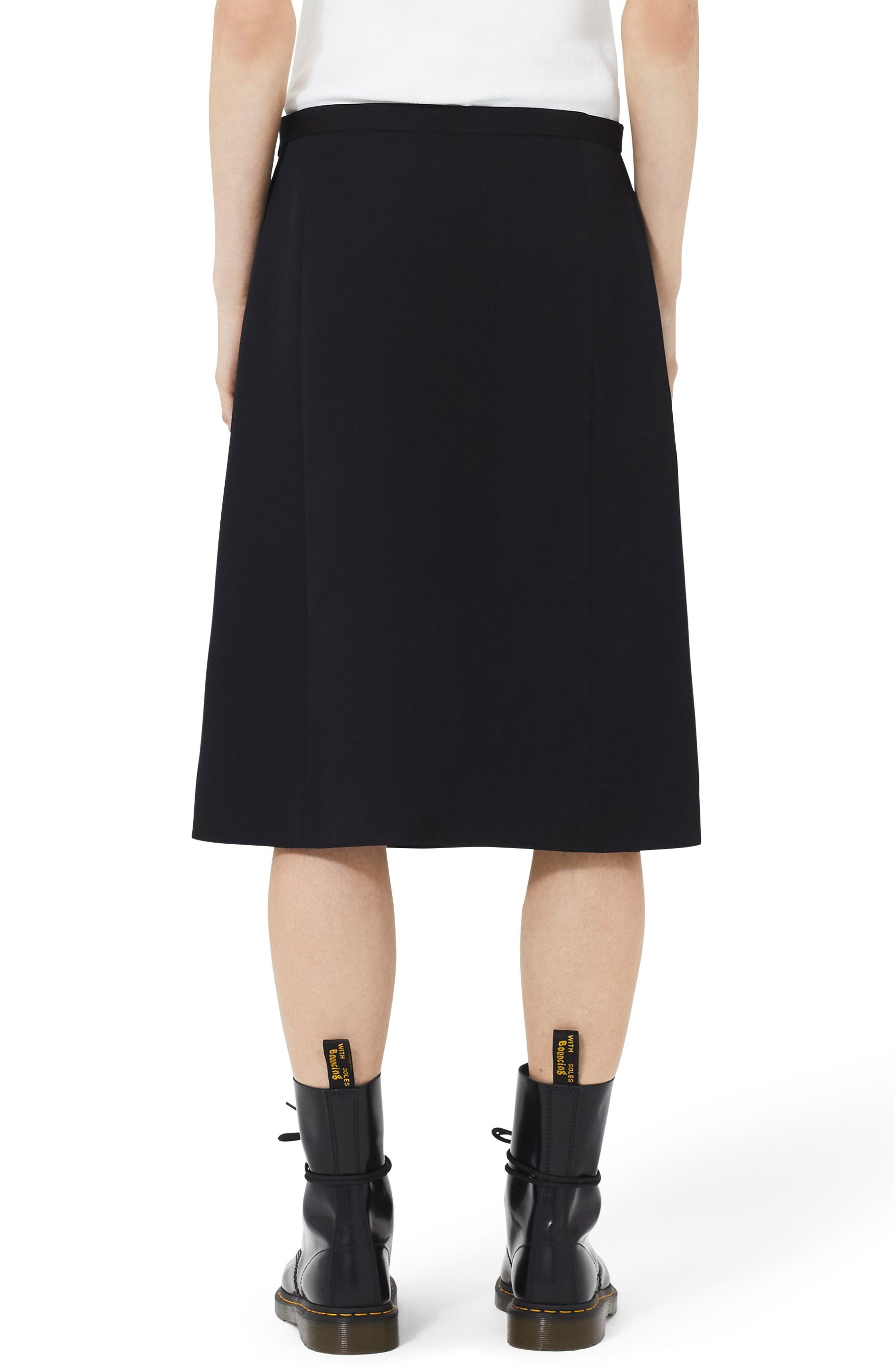 MARC JACOBS,                             Wool A-Line Skirt,                             Alternate thumbnail 2, color,                             BLACK