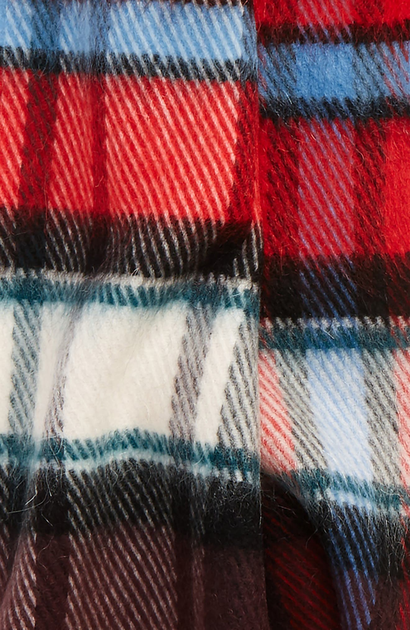 Check Wool Blend Scarf,                             Alternate thumbnail 3, color,                             BRIGHT RED