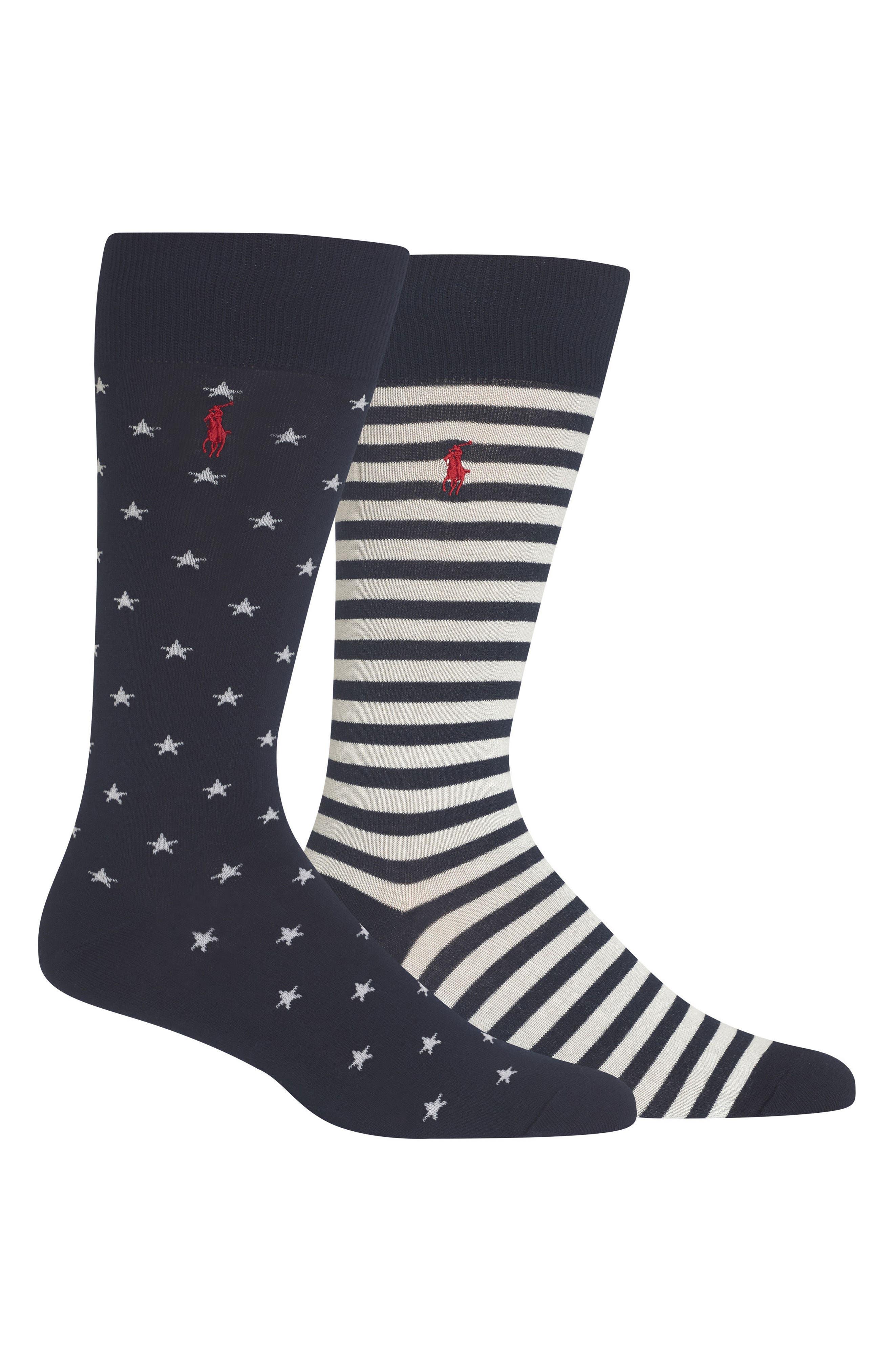 Ralph Lauren Stars & Stripes 2-Pack Socks,                             Main thumbnail 1, color,                             NAVY