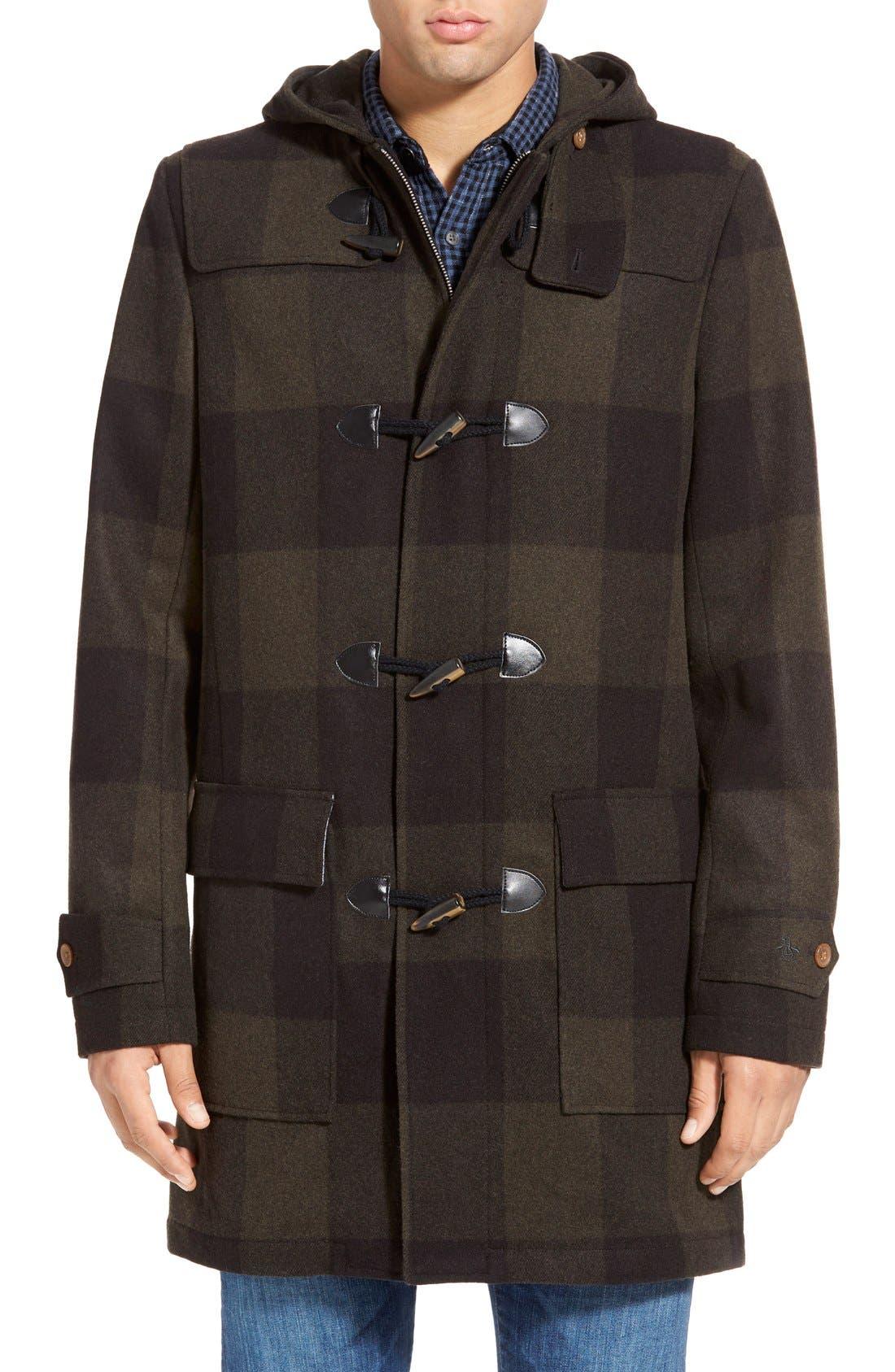 ORIGINAL PENGUIN,                             'Paddington' Wool Blend Duffle Coat,                             Main thumbnail 1, color,                             019