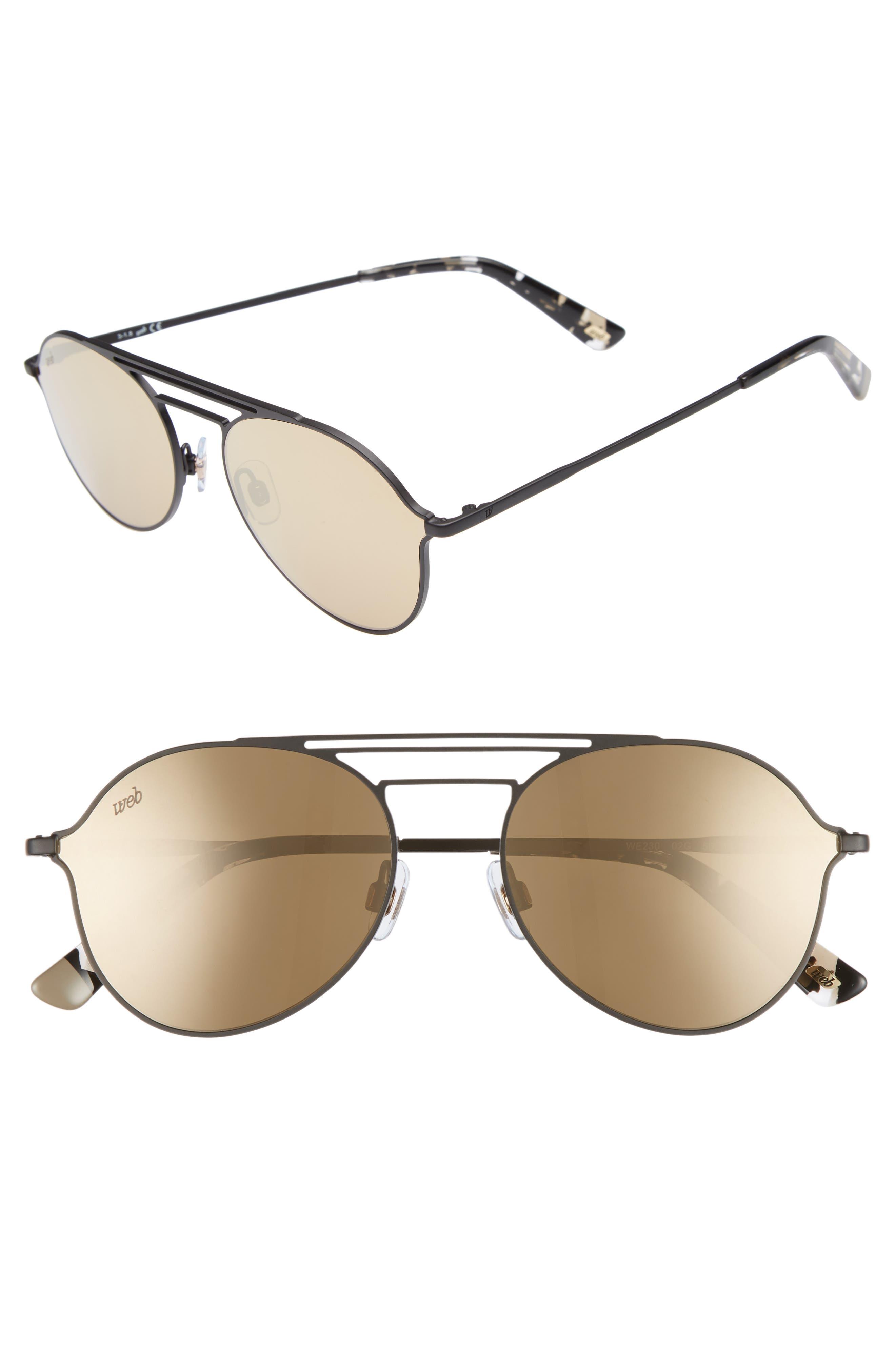 56mm Aviator Sunglasses,                         Main,                         color, MATTE BLACK/ BROWN MIRROR