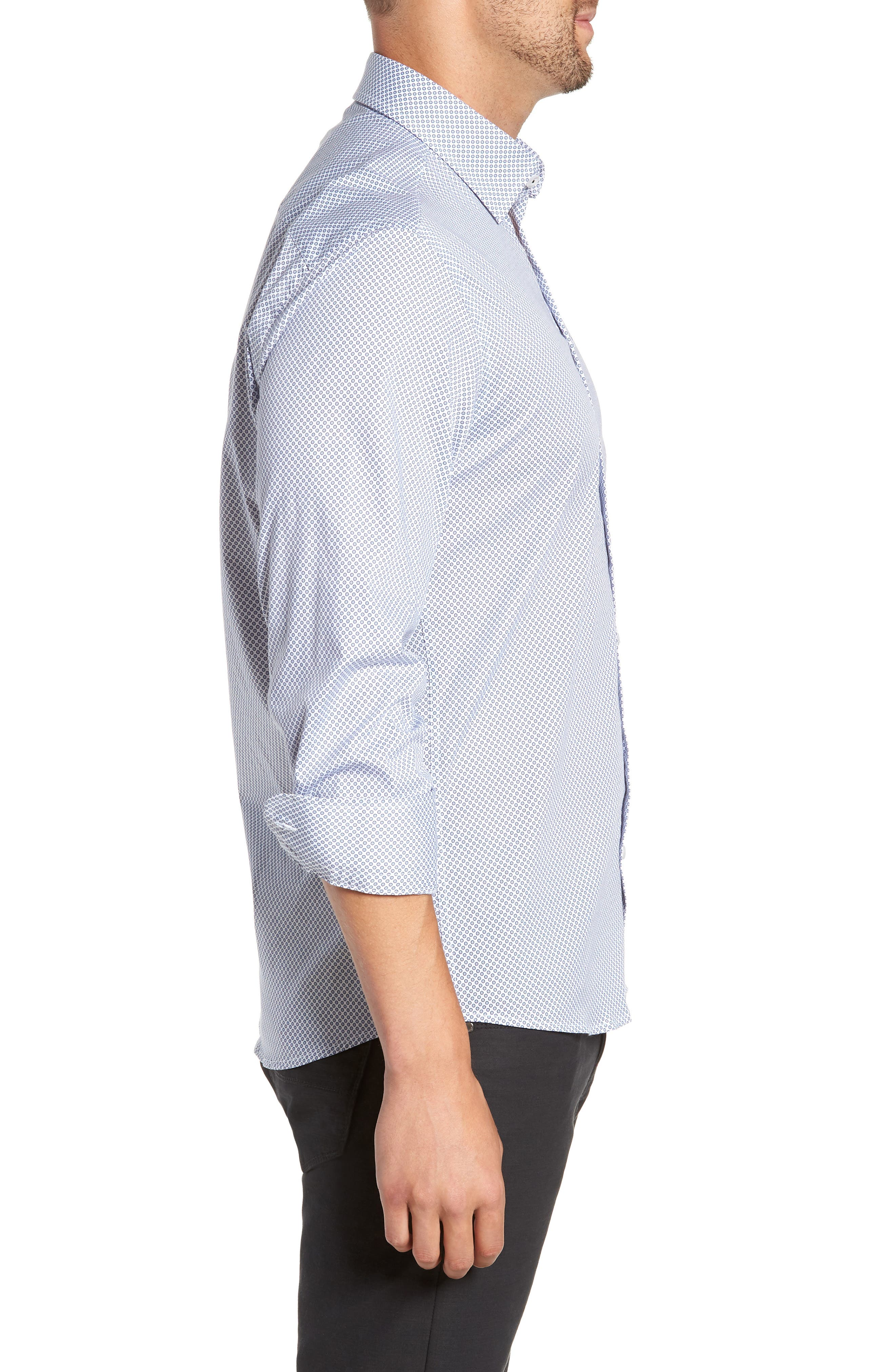 Regular Fit Geometric Print Sport Shirt,                             Alternate thumbnail 4, color,                             WHITE