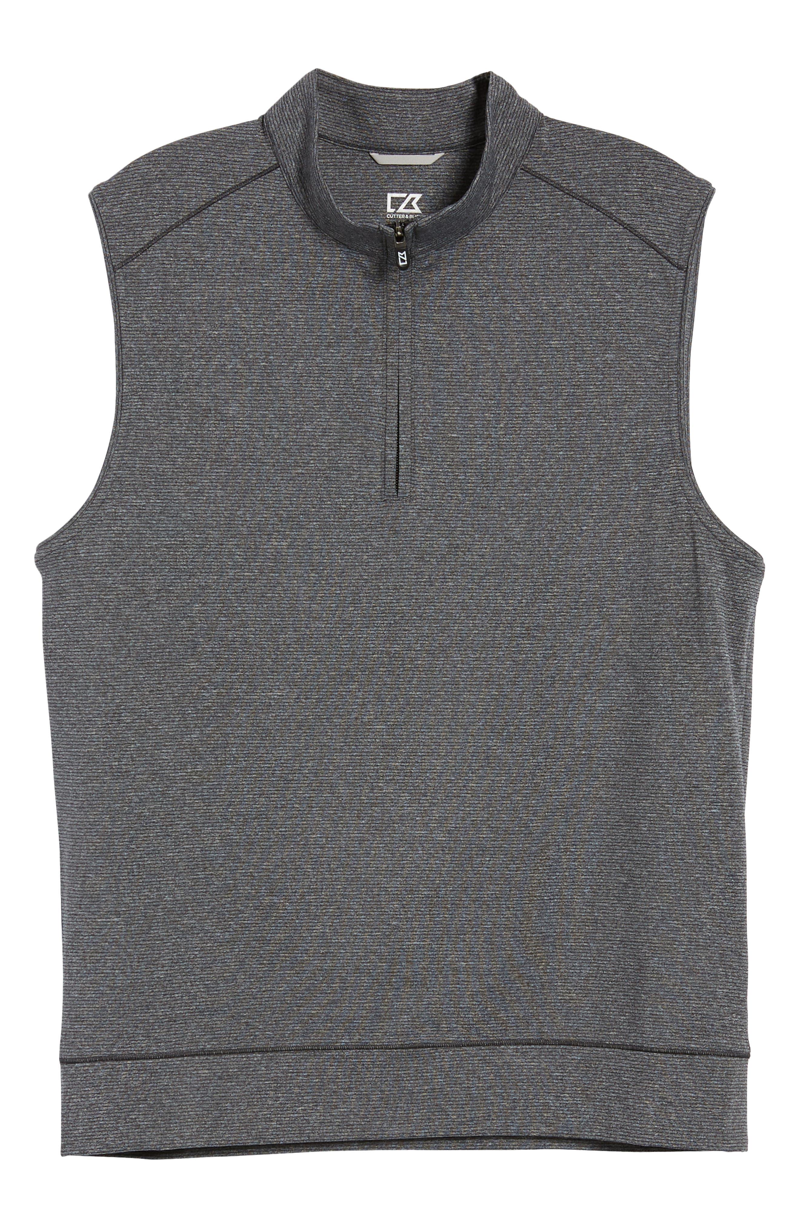 Shoreline Quarter Zip Vest,                             Alternate thumbnail 5, color,                             CHARCOAL HEATHER