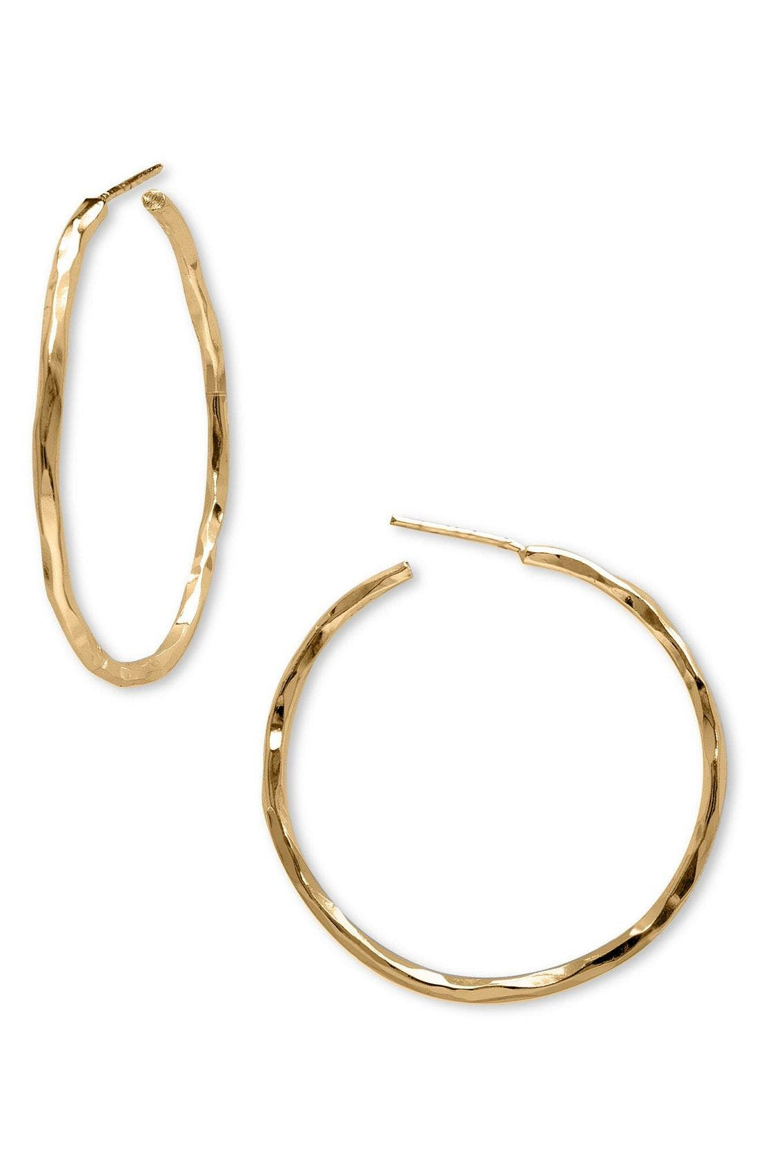 Medium Hammered Hoop Earrings,                         Main,                         color, GOLD