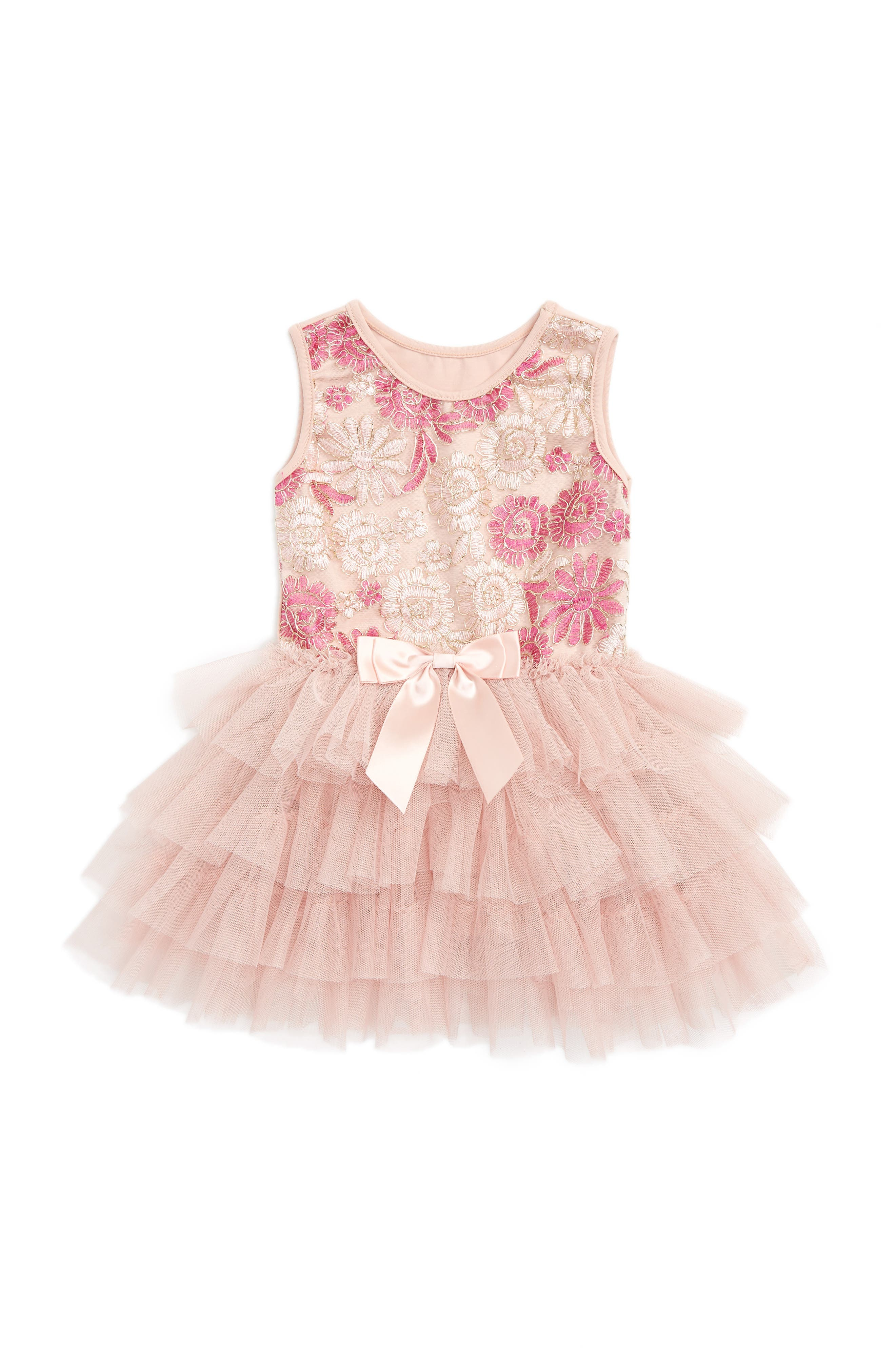 Embroidered Floral Tulle Dress,                             Alternate thumbnail 2, color,                             DUSTY PINK