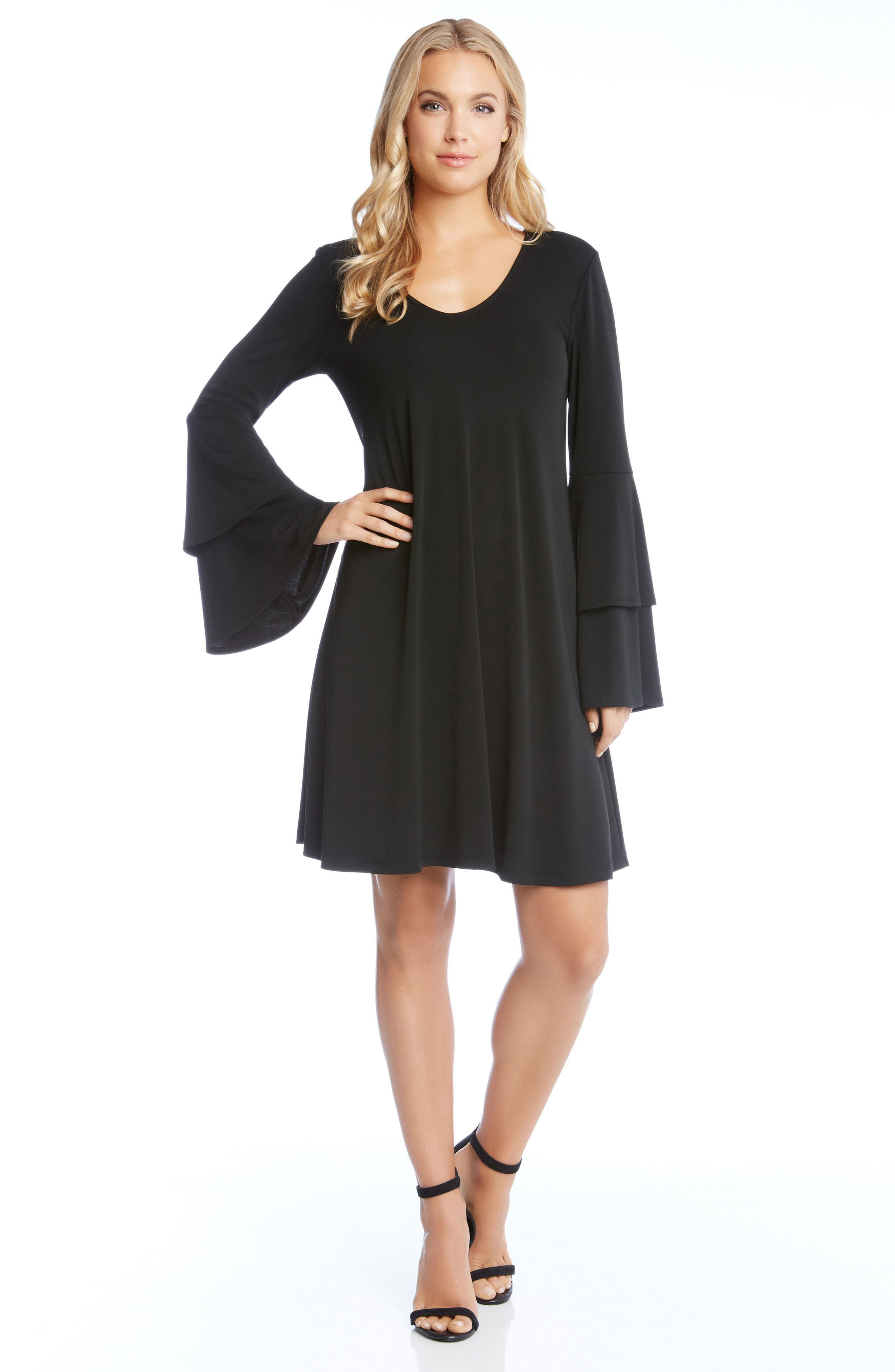 Tiered Bell Sleeve A-Line Dress,                             Alternate thumbnail 3, color,                             001
