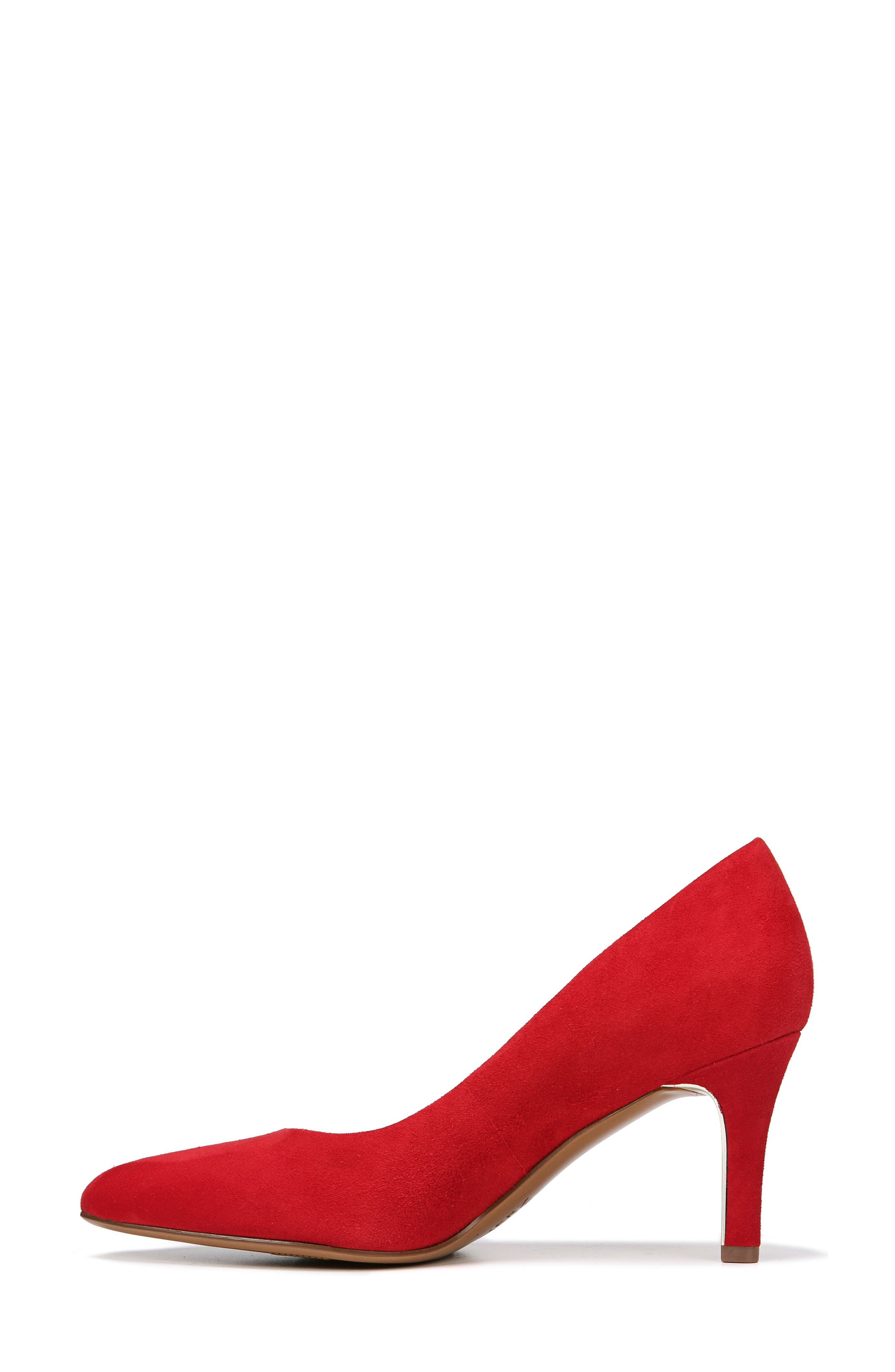 NATURALIZER,                             Natalie Pointy Toe Pump,                             Alternate thumbnail 3, color,                             RED SUEDE