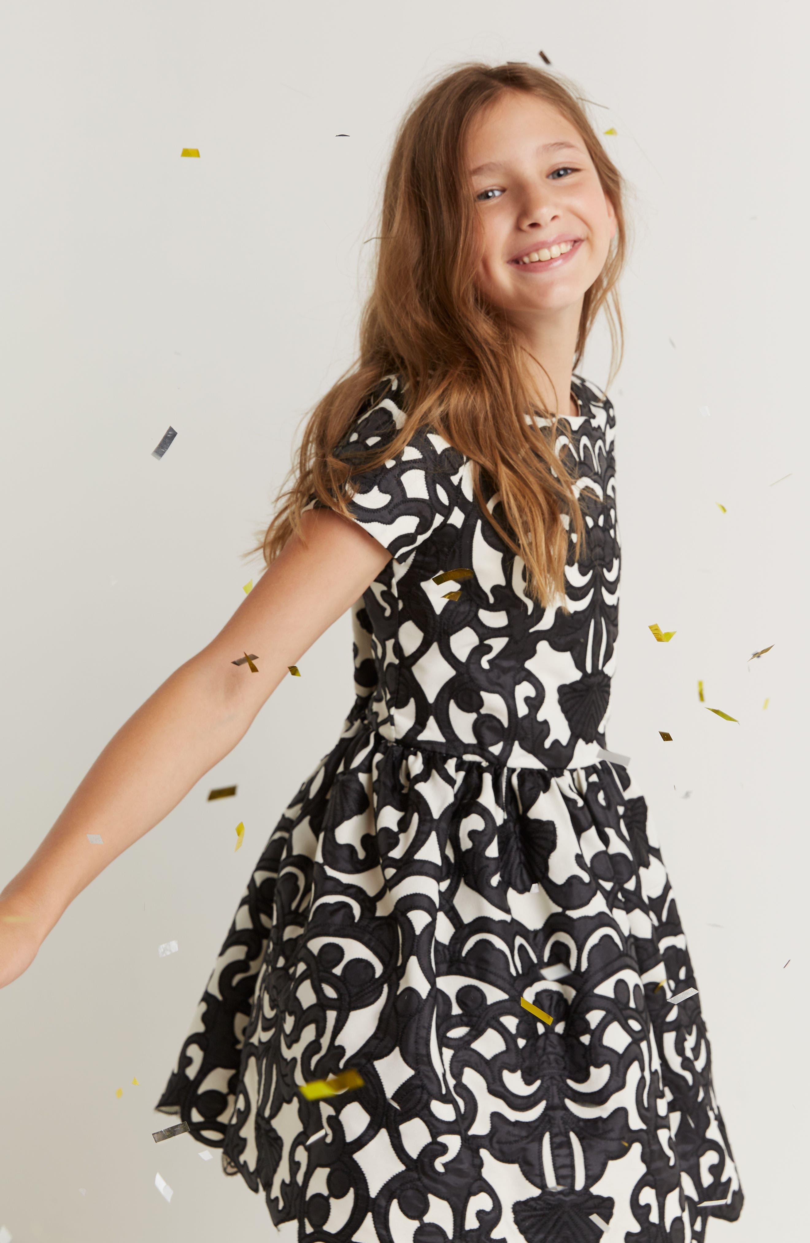 Laser Cut Appliqué Dress,                             Alternate thumbnail 5, color,                             001