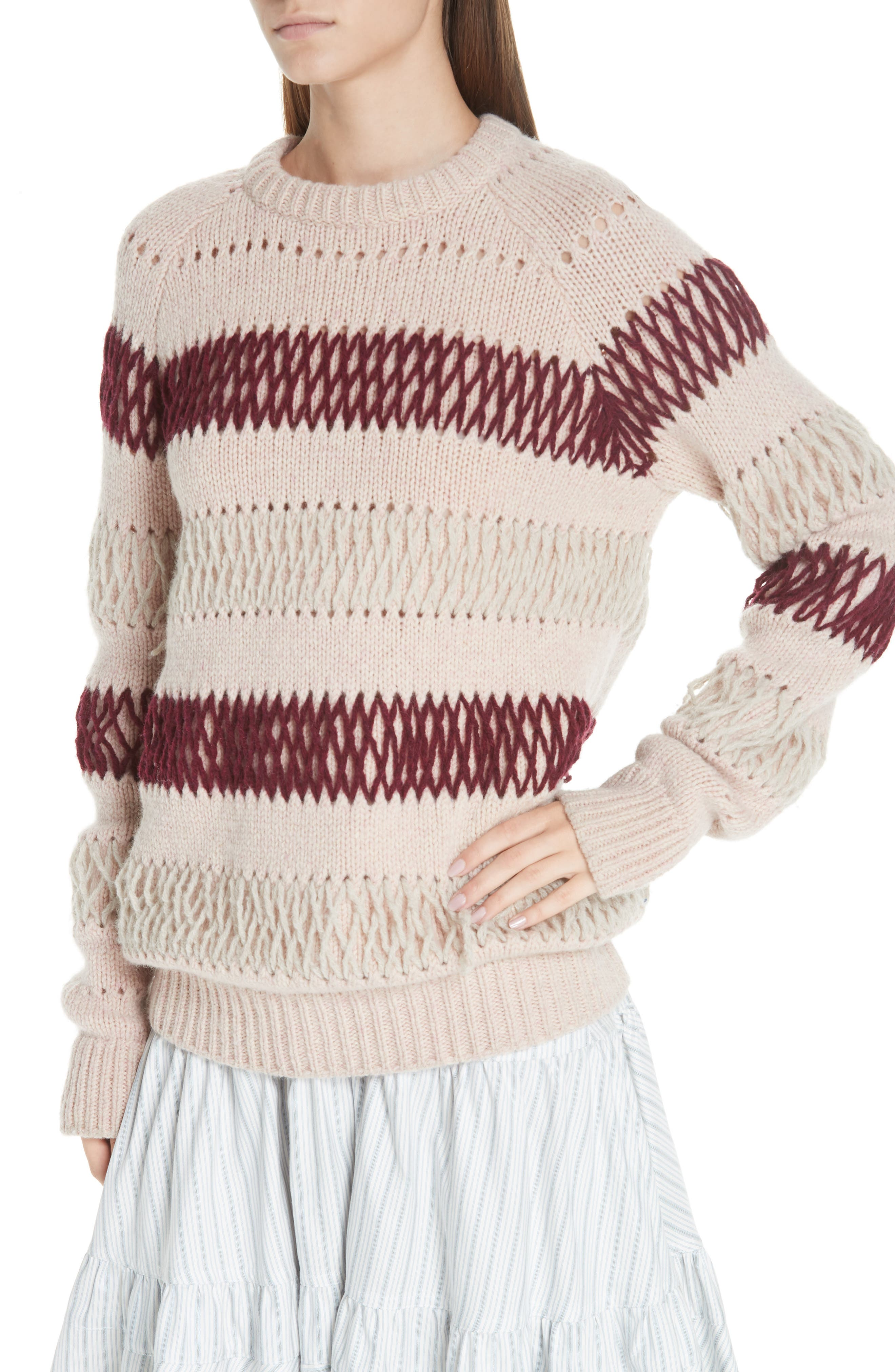 Embroidered Stripe Wool Sweater,                             Alternate thumbnail 4, color,                             PALE PINK BURGUNDY