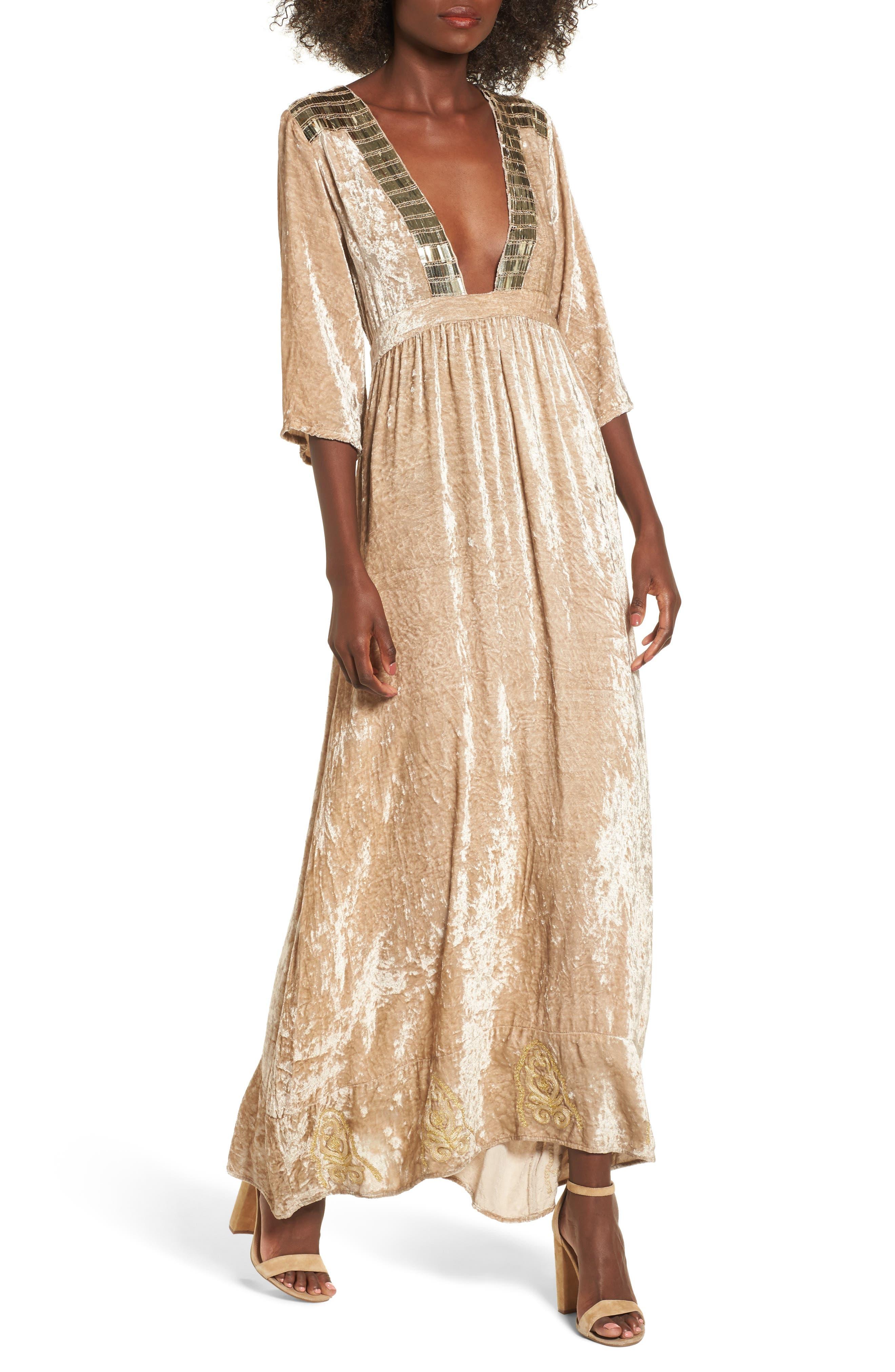 Romantic Visions Velvet Maxi Dress,                         Main,                         color,