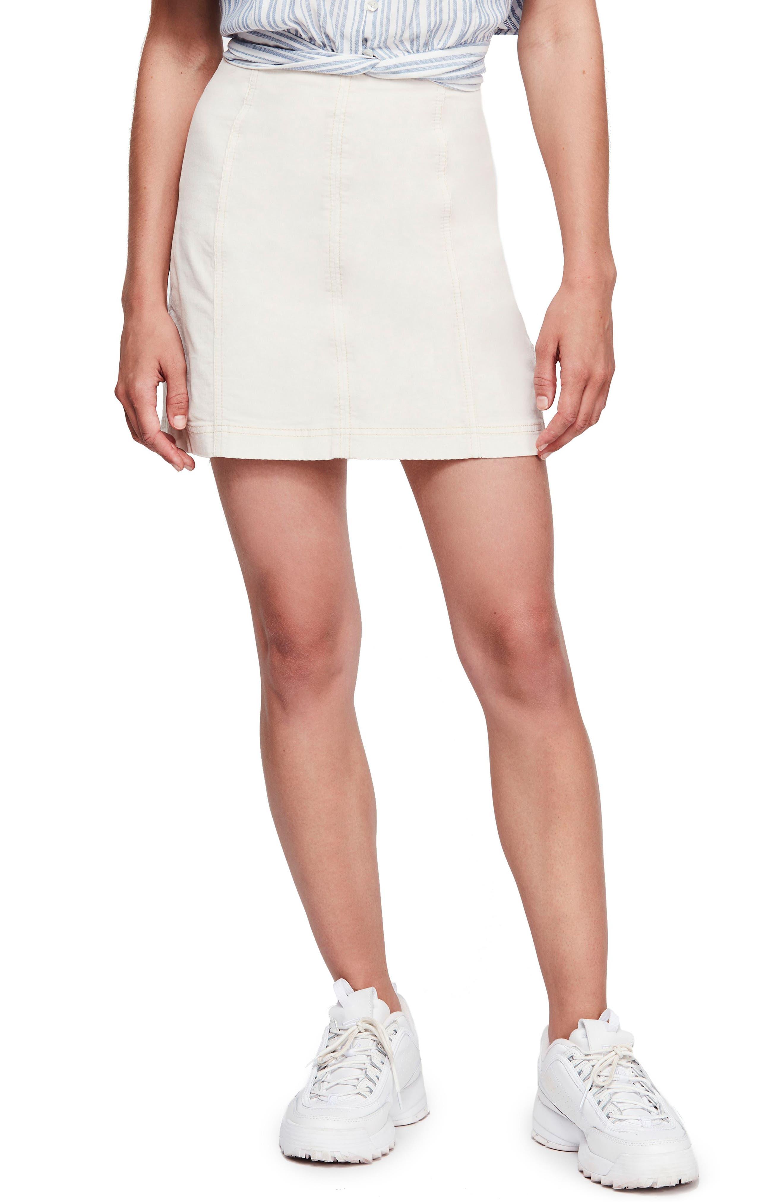 Free People Corduroy Miniskirt, Ivory