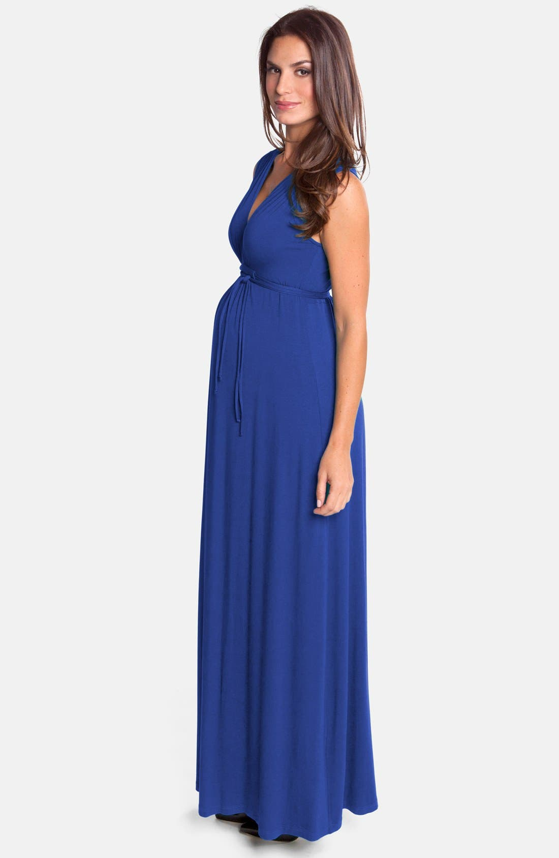 Lucy Maternity Maxi Dress,                             Alternate thumbnail 4, color,                             TRUE BLUE