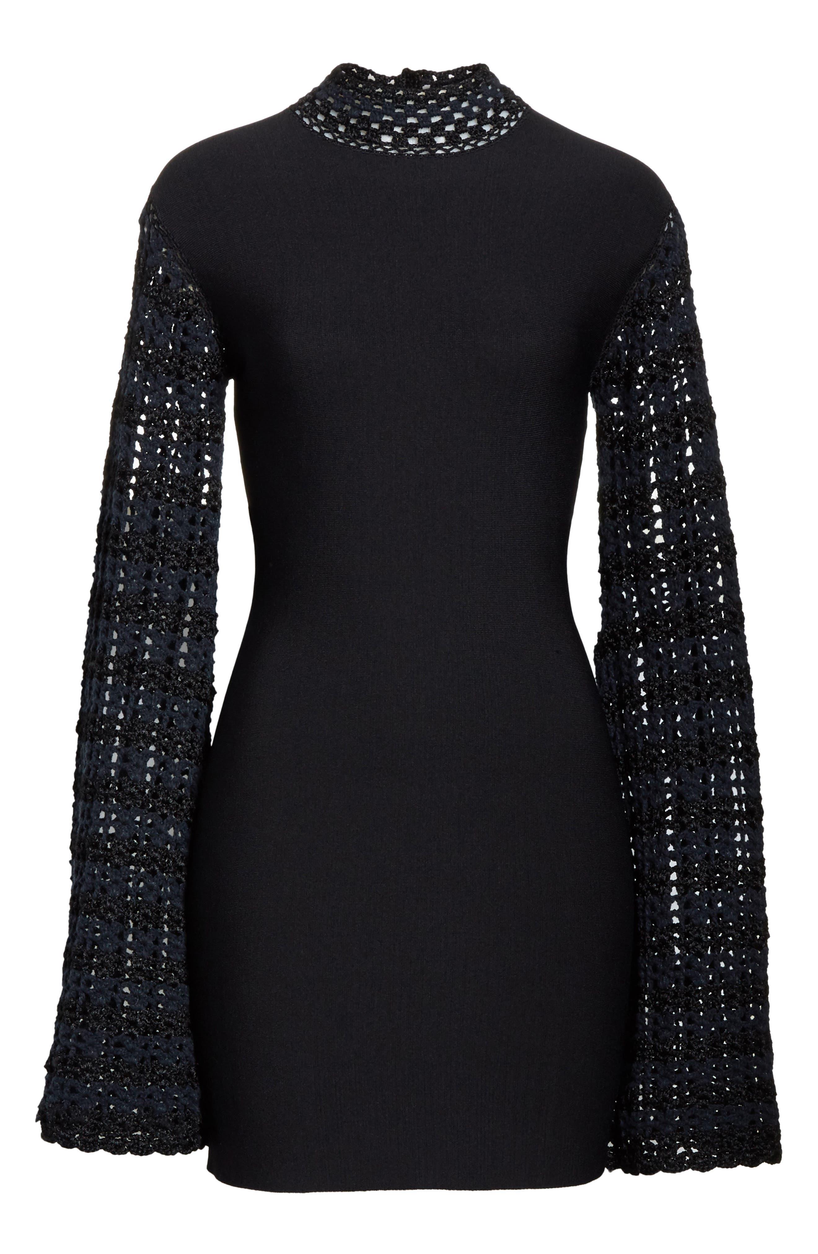Crochet Sleeve Open Back Dress,                             Alternate thumbnail 6, color,                             001