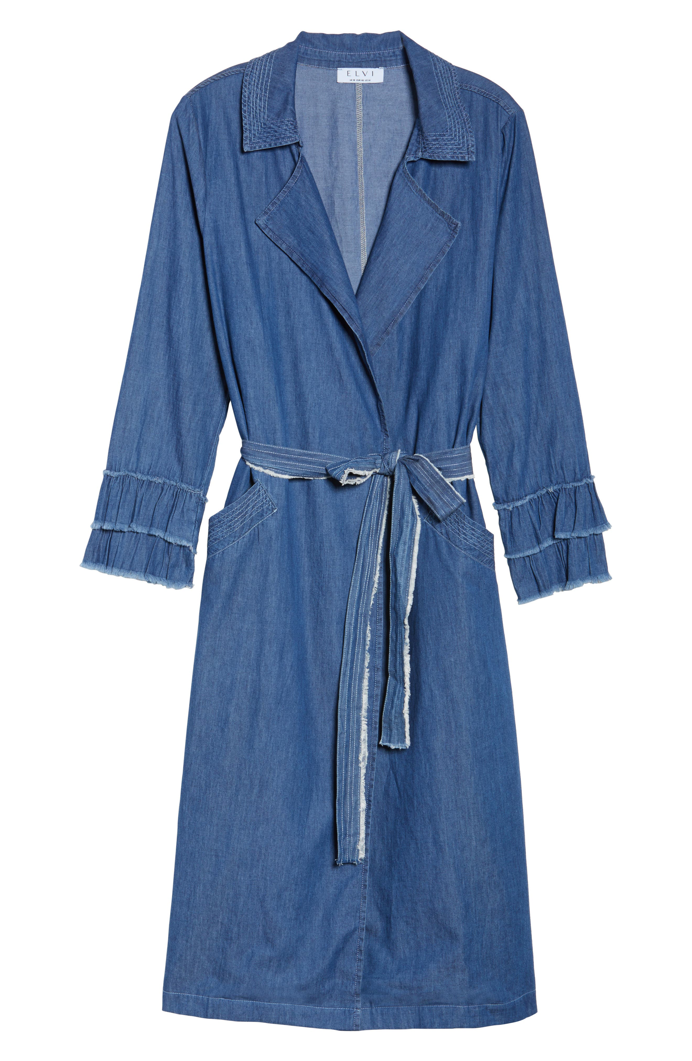 Chambray Trench Coat,                             Alternate thumbnail 5, color,                             400