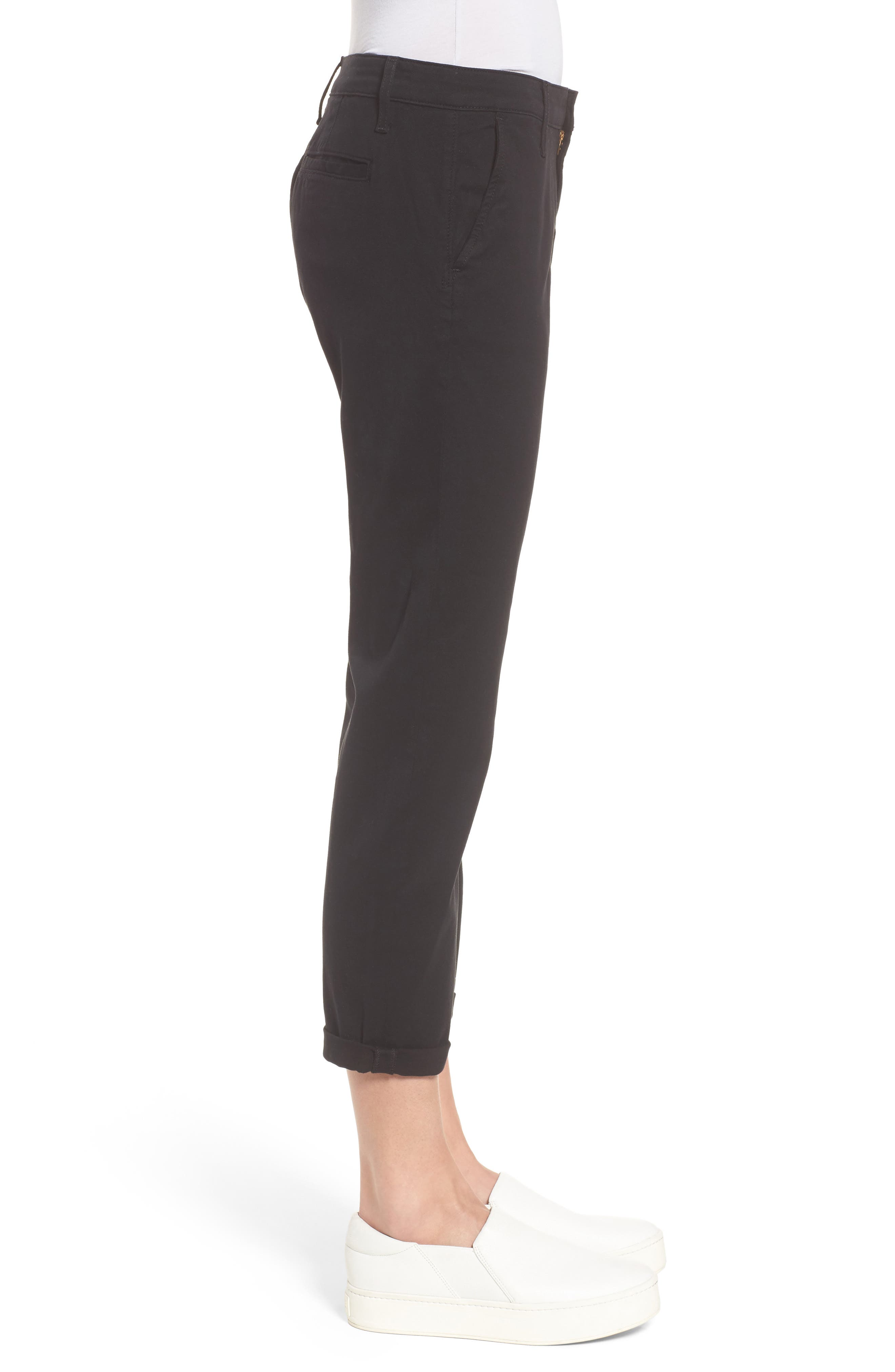 Caden Crop Twill Trousers,                             Alternate thumbnail 3, color,                             010