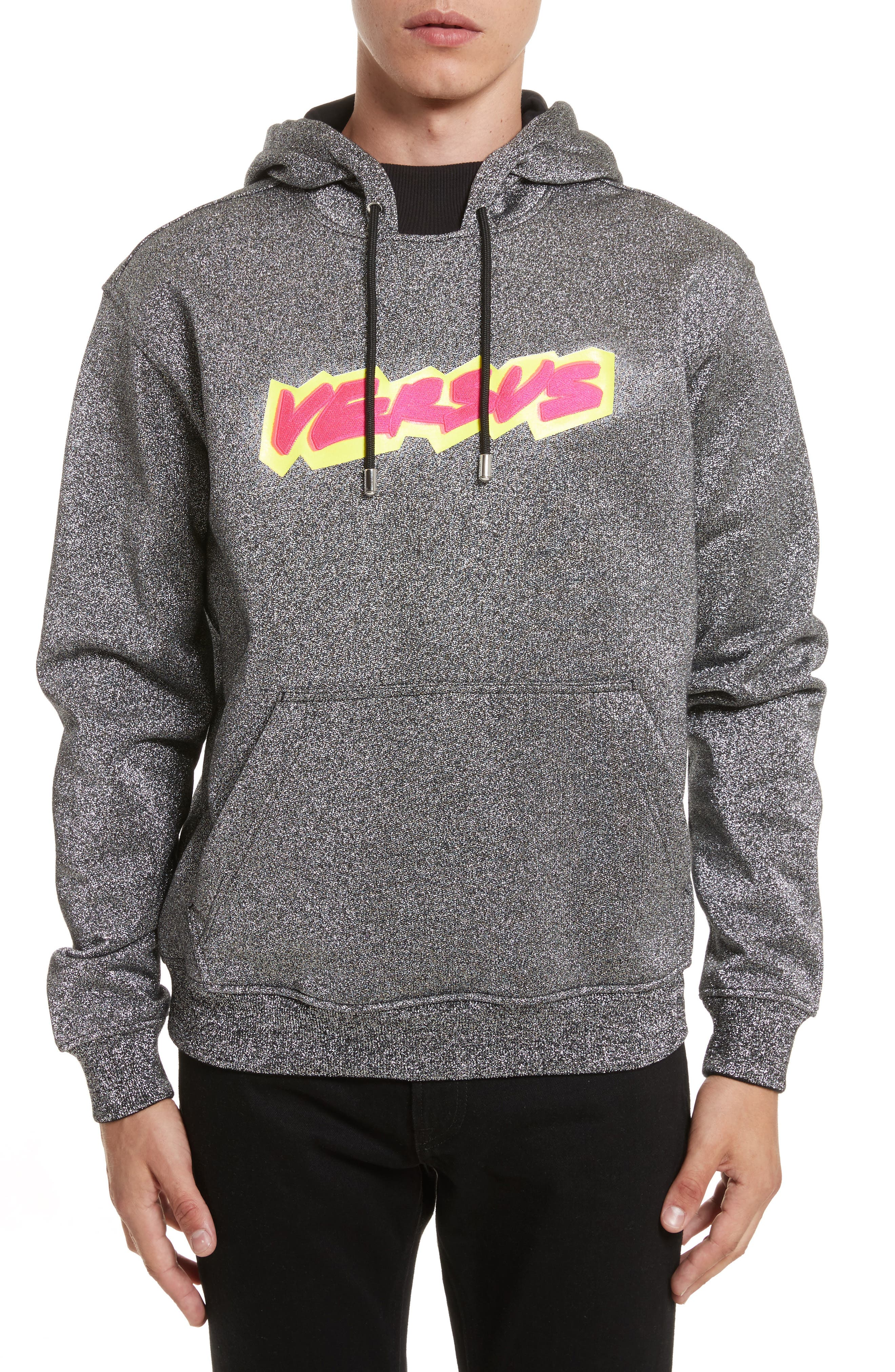 VERSUS by Versace Glitter Hoodie,                             Main thumbnail 1, color,                             044