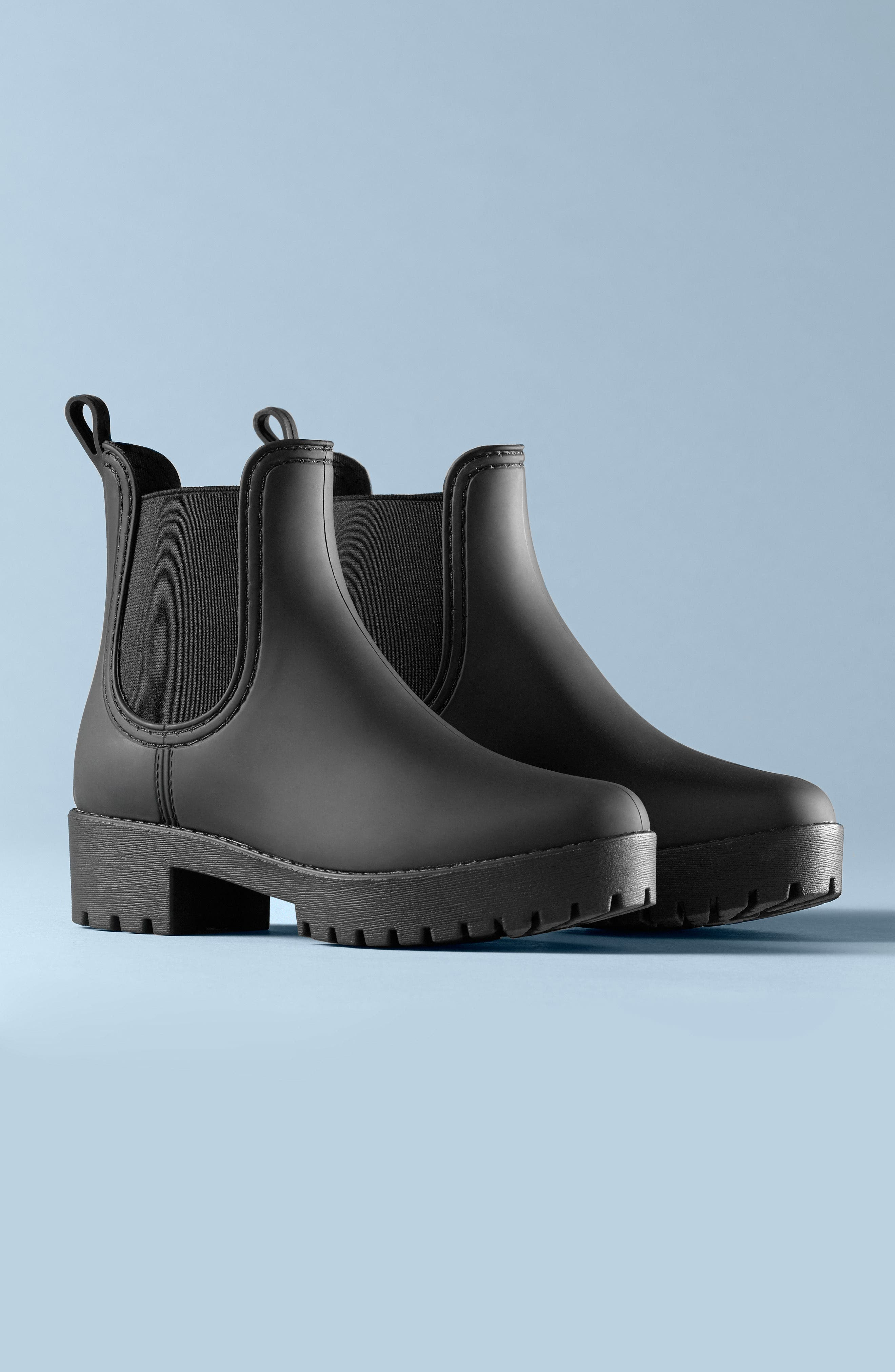 Cloudy Waterproof Chelsea Rain Boot,                             Alternate thumbnail 5, color,                             BLACK MATTE BLACK
