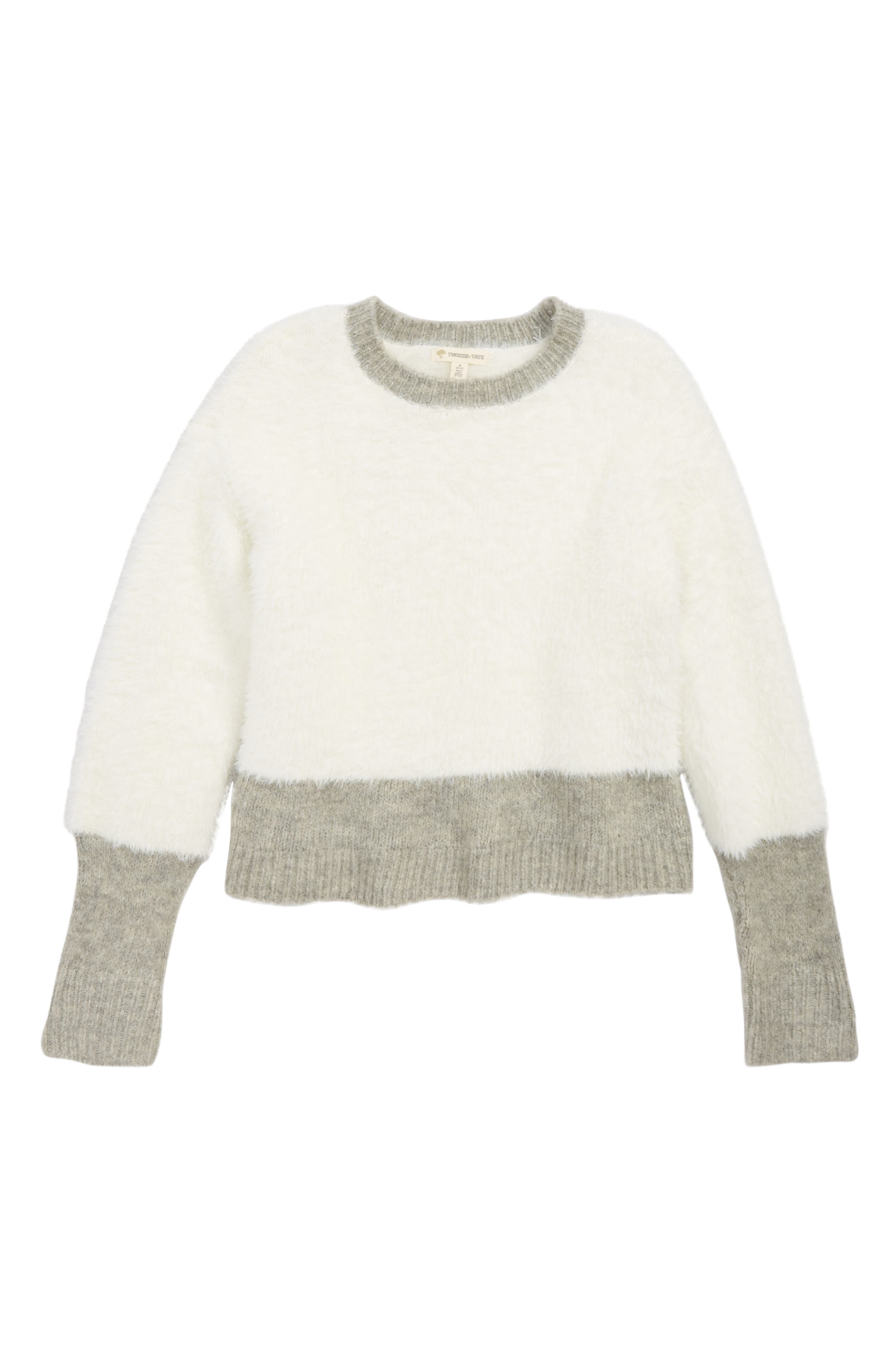 Cozy Colorblock Sweater,                         Main,                         color, IVORY EGRET- GREY