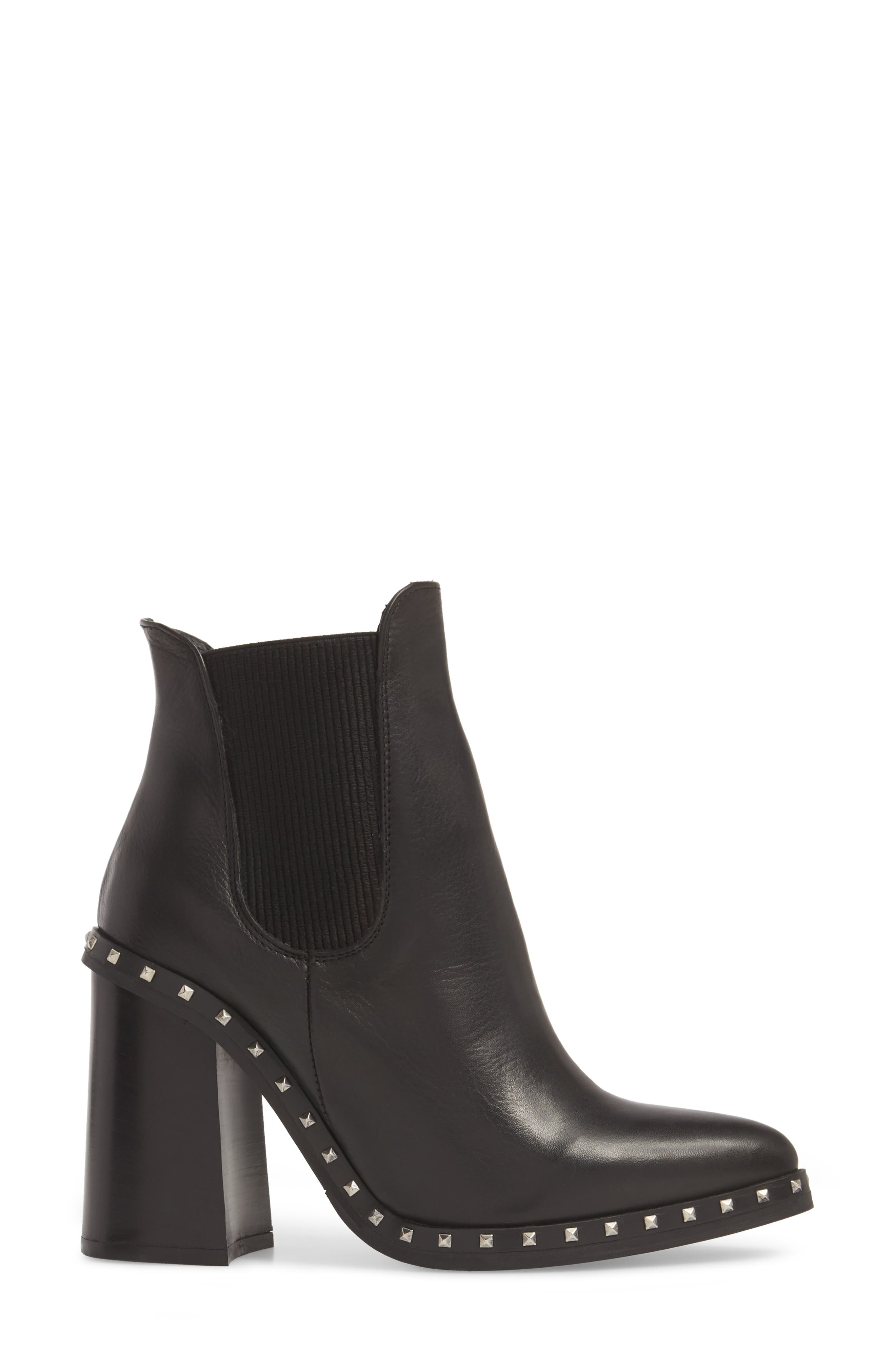 Scandal Studded Chelsea Bootie,                             Alternate thumbnail 3, color,                             BLACK LEATHER