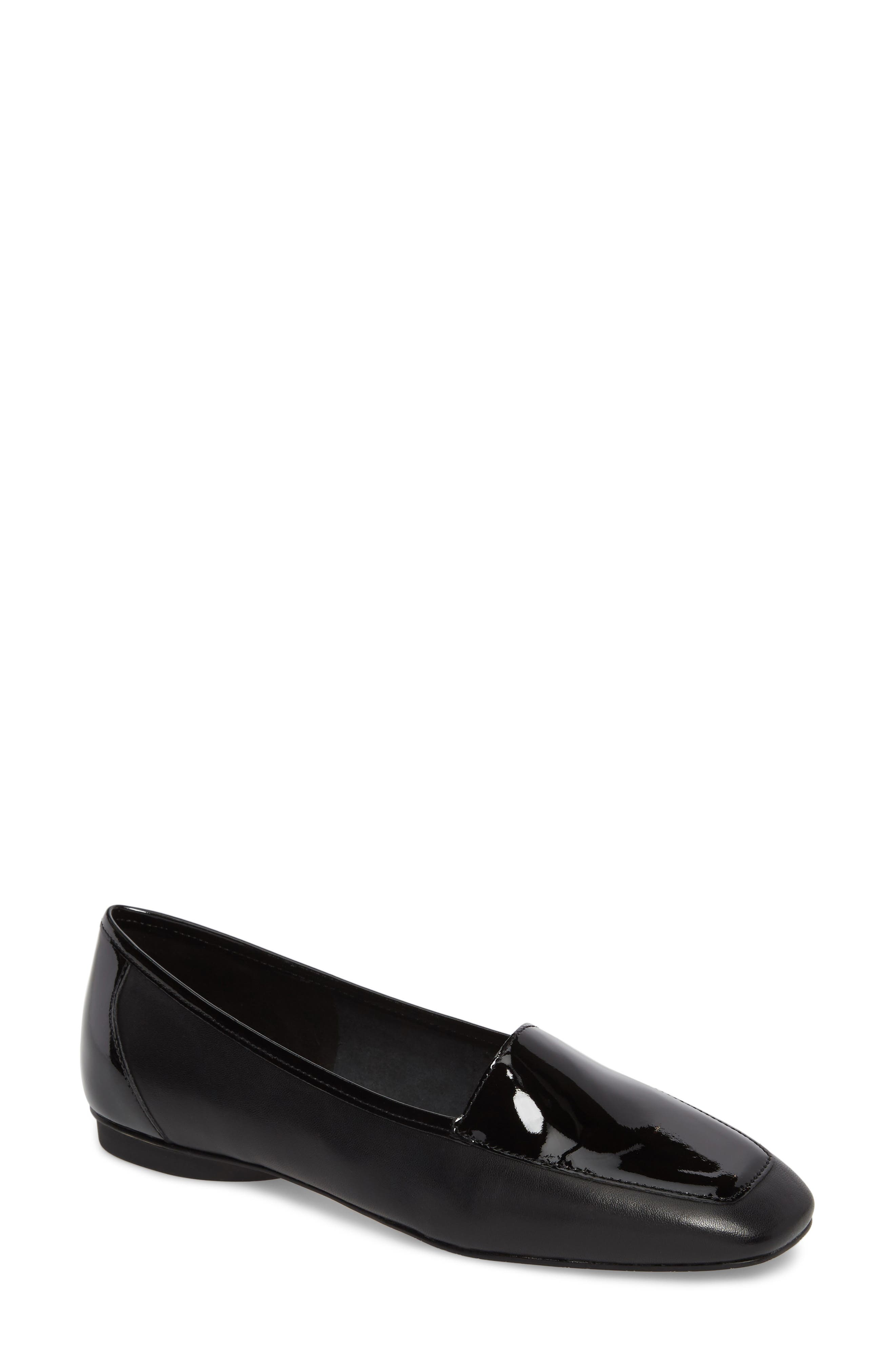 Deedee Apron Toe Flat,                         Main,                         color, BLACK LEATHER