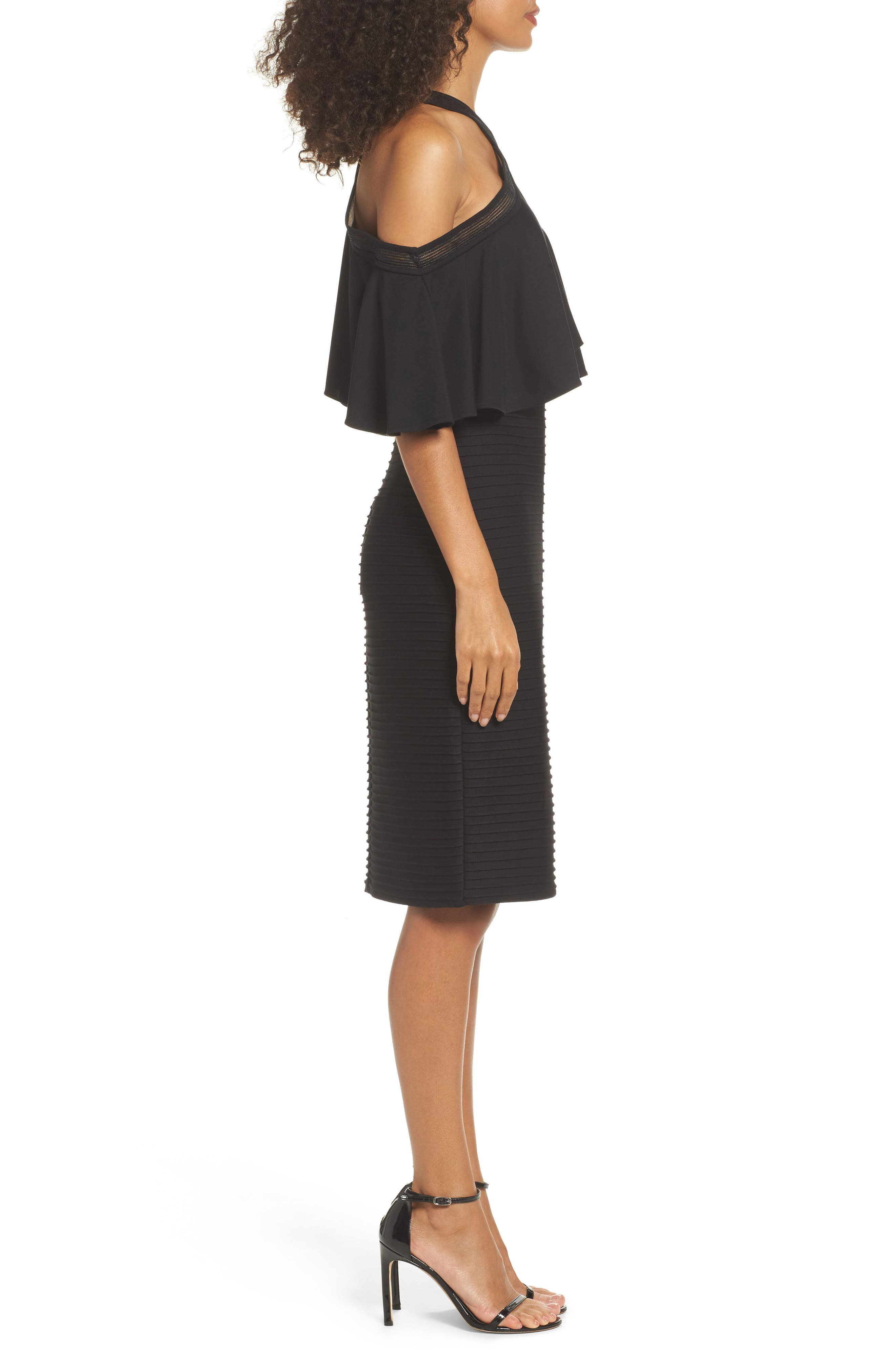 Pintuck Cold Shoulder Dress,                             Alternate thumbnail 3, color,                             001
