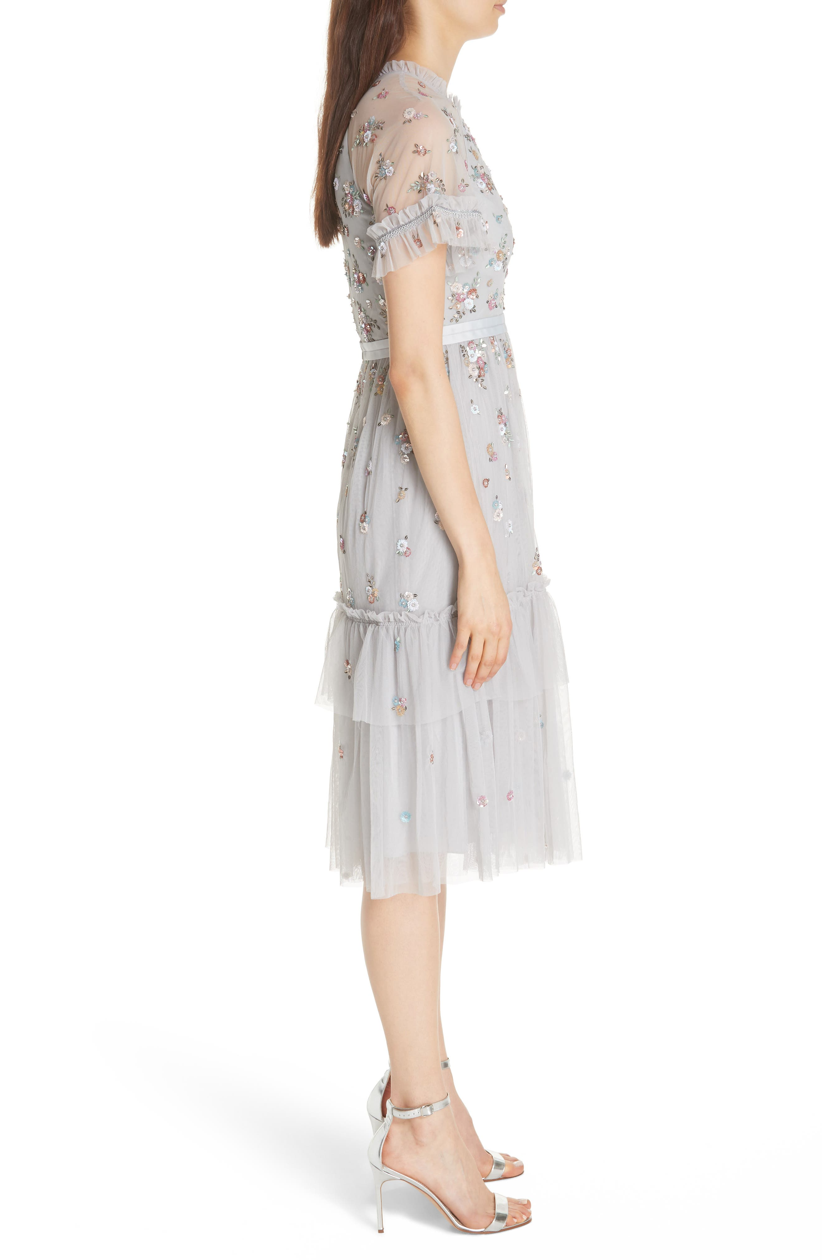 Lustre Sheer Sleeve Dress,                             Alternate thumbnail 3, color,                             VINTAGE BLUE