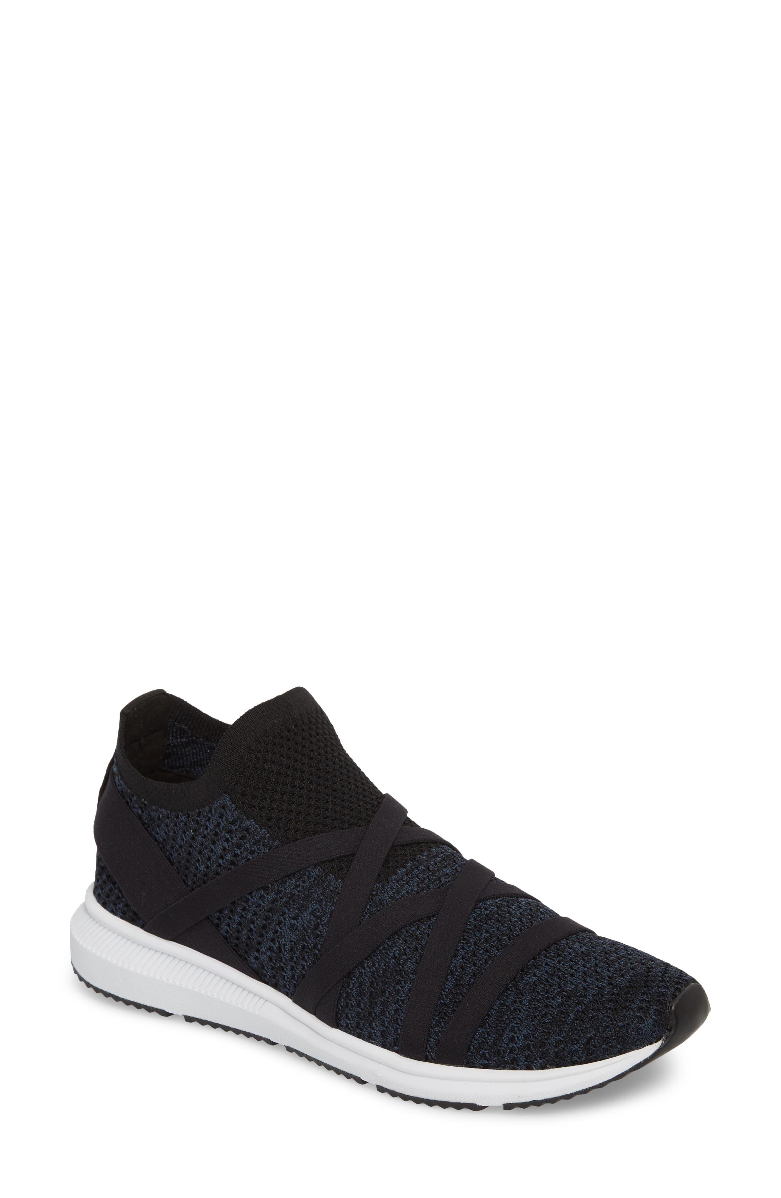 Xanady Woven Slip-On Sneaker,                             Main thumbnail 1, color,                             BLACK/ MARINE STRETCH