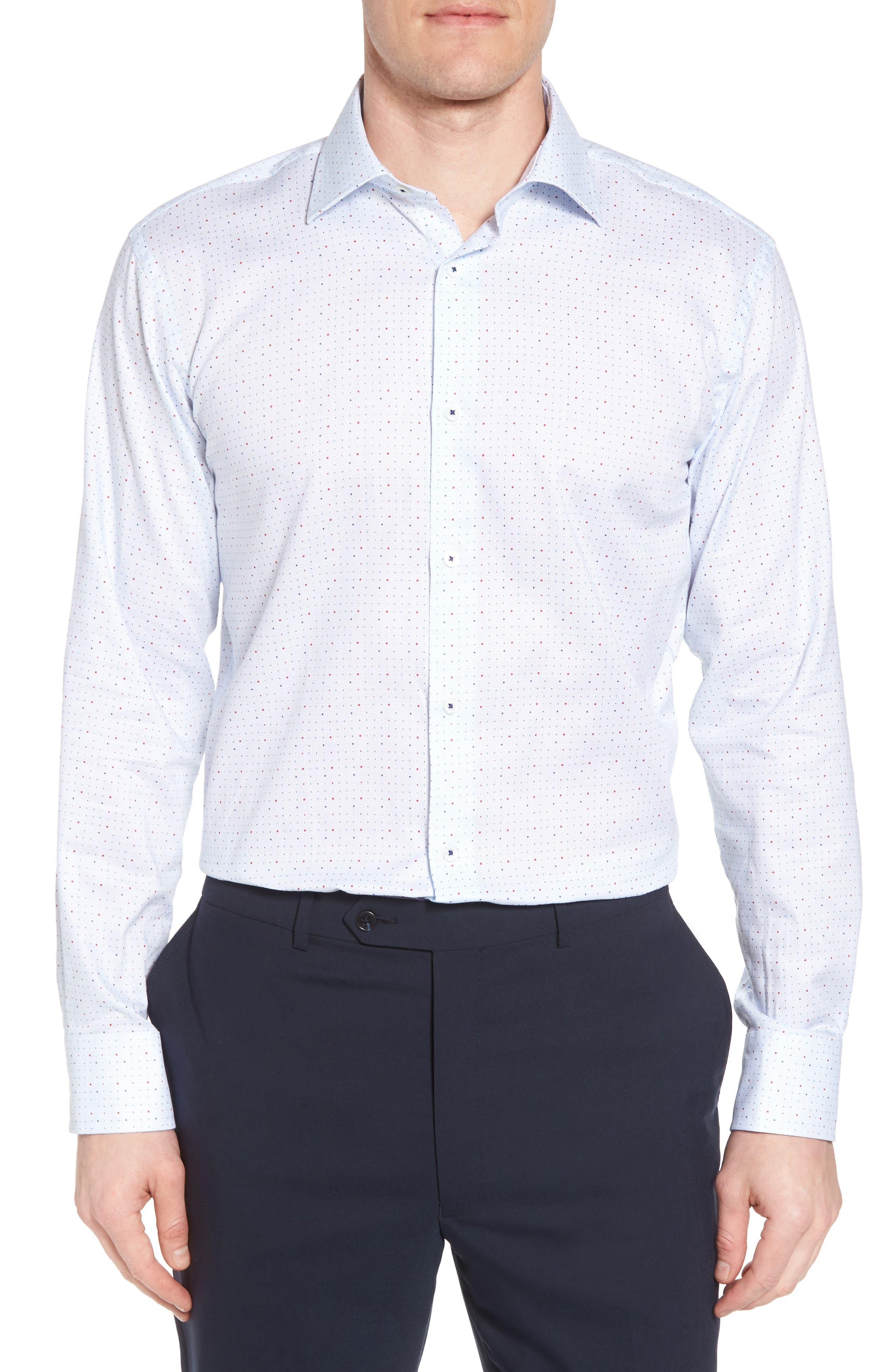 Trim Fit Dot Dress Shirt,                         Main,                         color, ICE BLUE