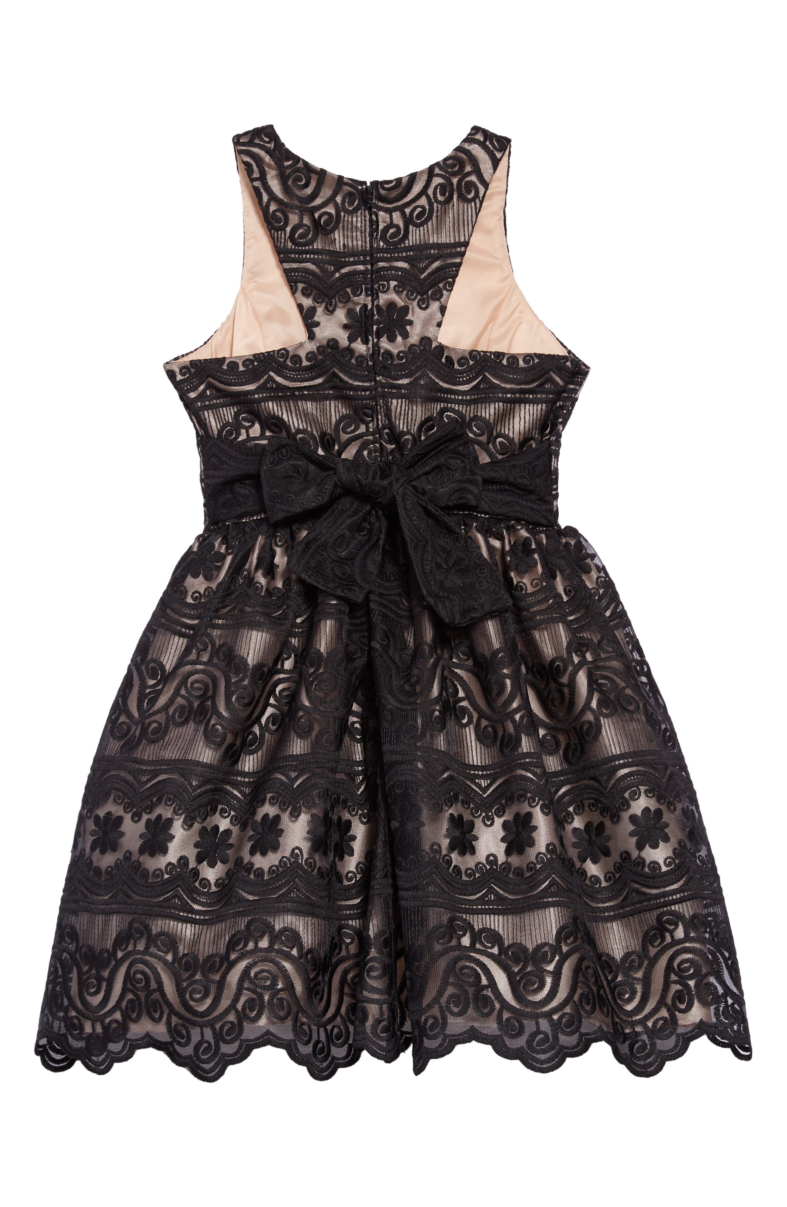 Embroidered Dress,                             Alternate thumbnail 2, color,                             BLACK