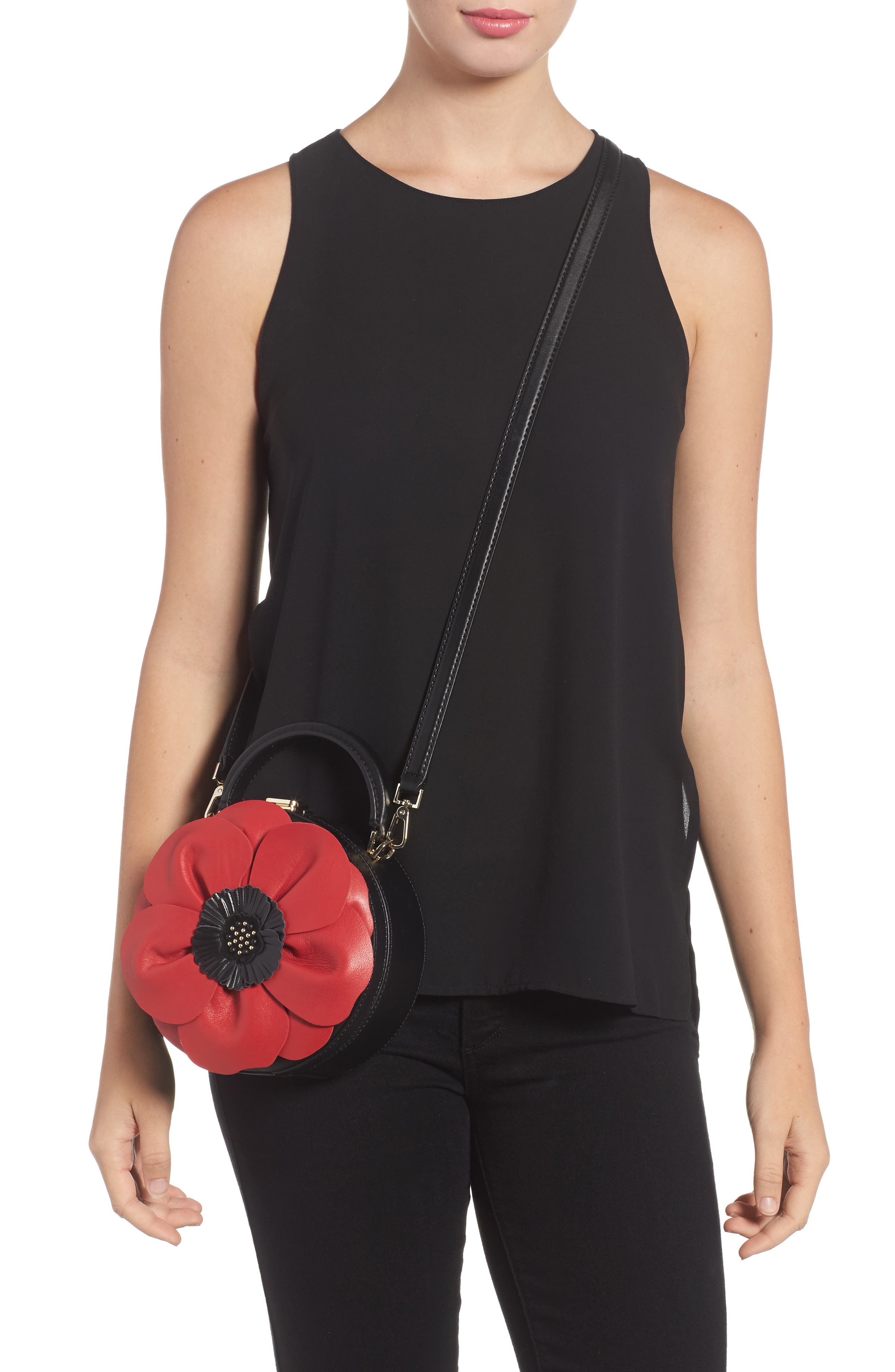 ooh la la poppy leather crossbody bag,                             Alternate thumbnail 2, color,
