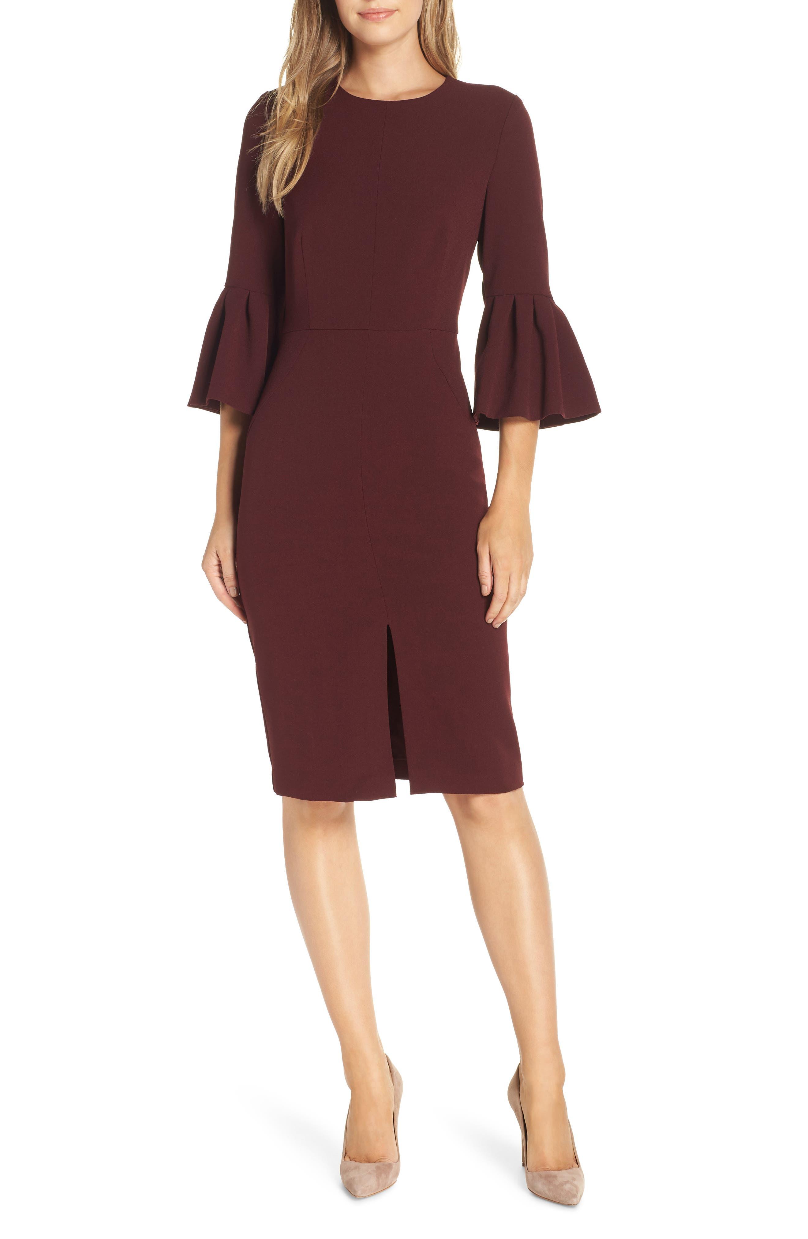 Petite Harper Rose Bell Sleeve Sheath Dress, Purple