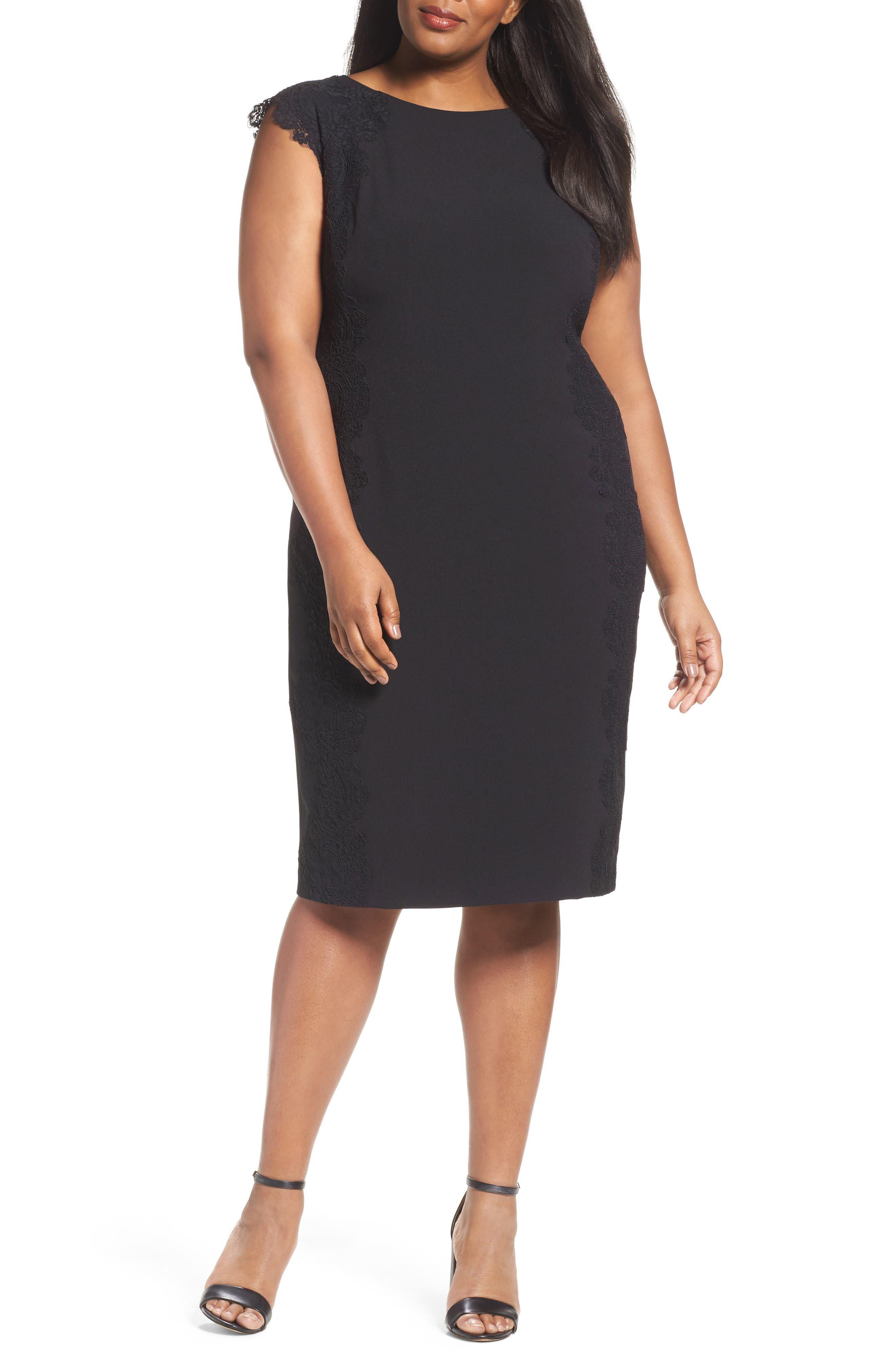 Lace Side Sheath Dress,                             Main thumbnail 1, color,                             001