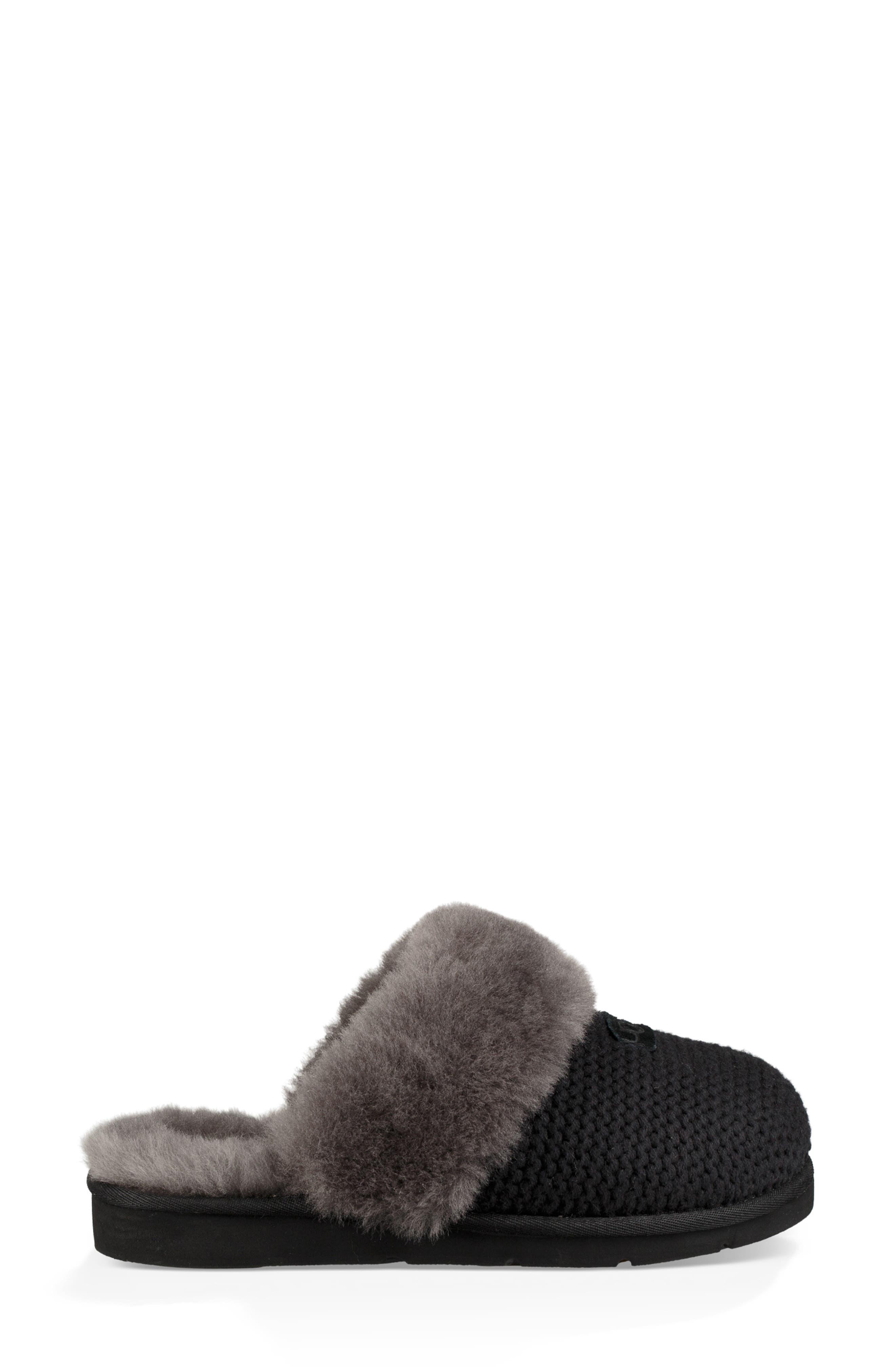 Cozy Knit Genuine Shearling Slipper,                             Alternate thumbnail 3, color,                             BLACK