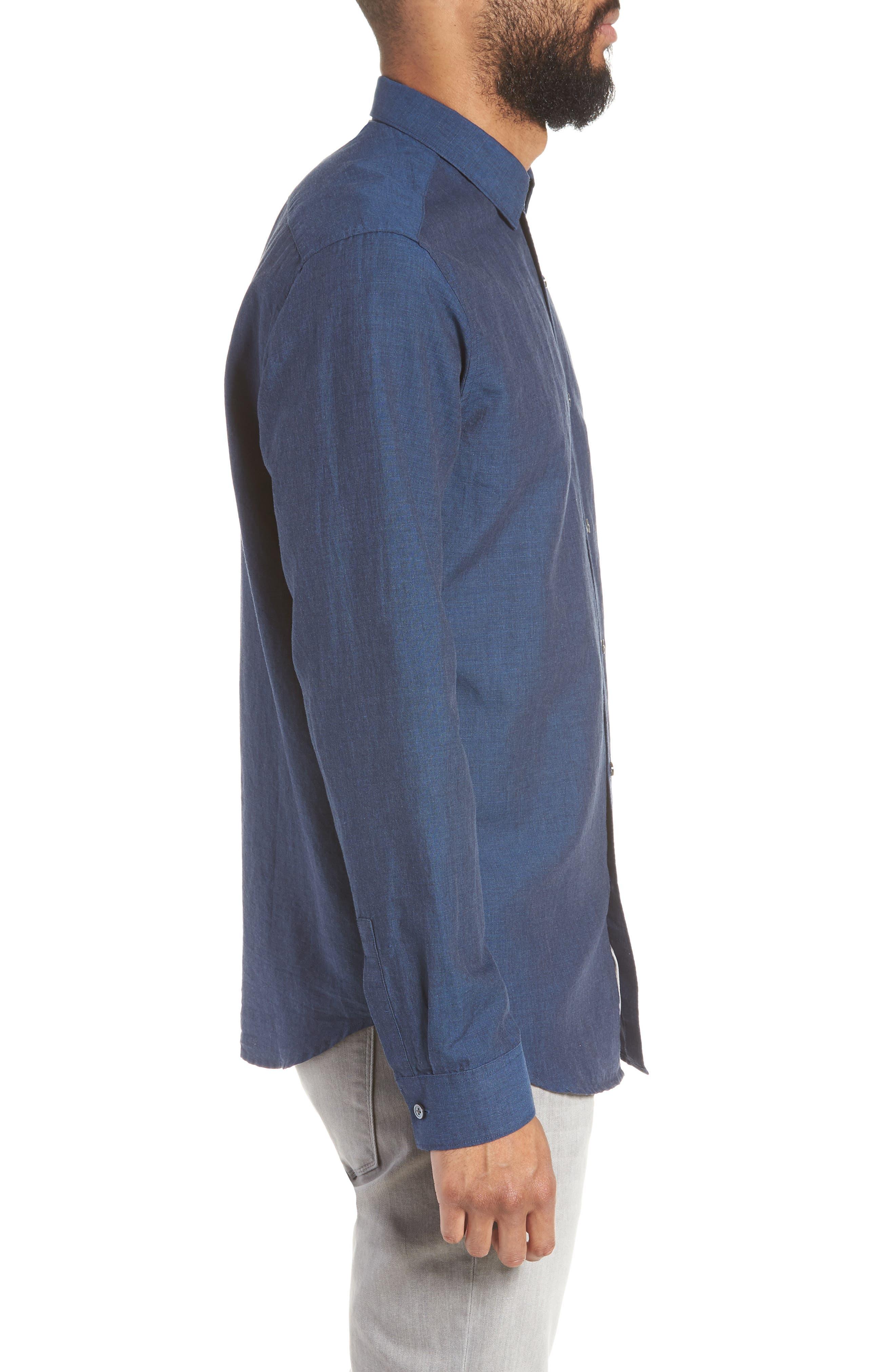 Murrary Indy Regular Fit Solid Cotton & Linen Sport Shirt,                             Alternate thumbnail 4, color,                             FINCH